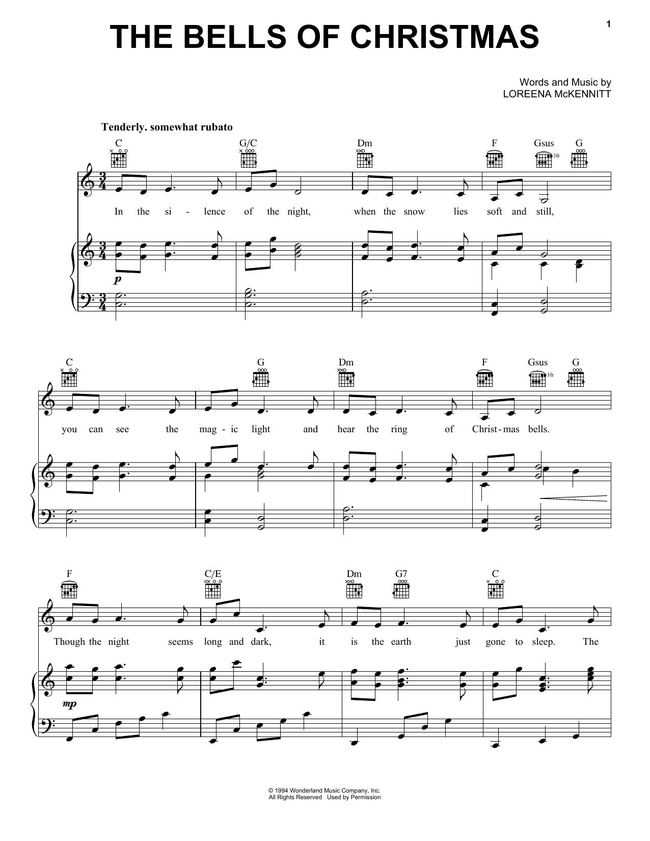 Partition piano The Bells Of Christmas de Loreena McKennitt - Piano Voix Guitare (Mélodie Main Droite)
