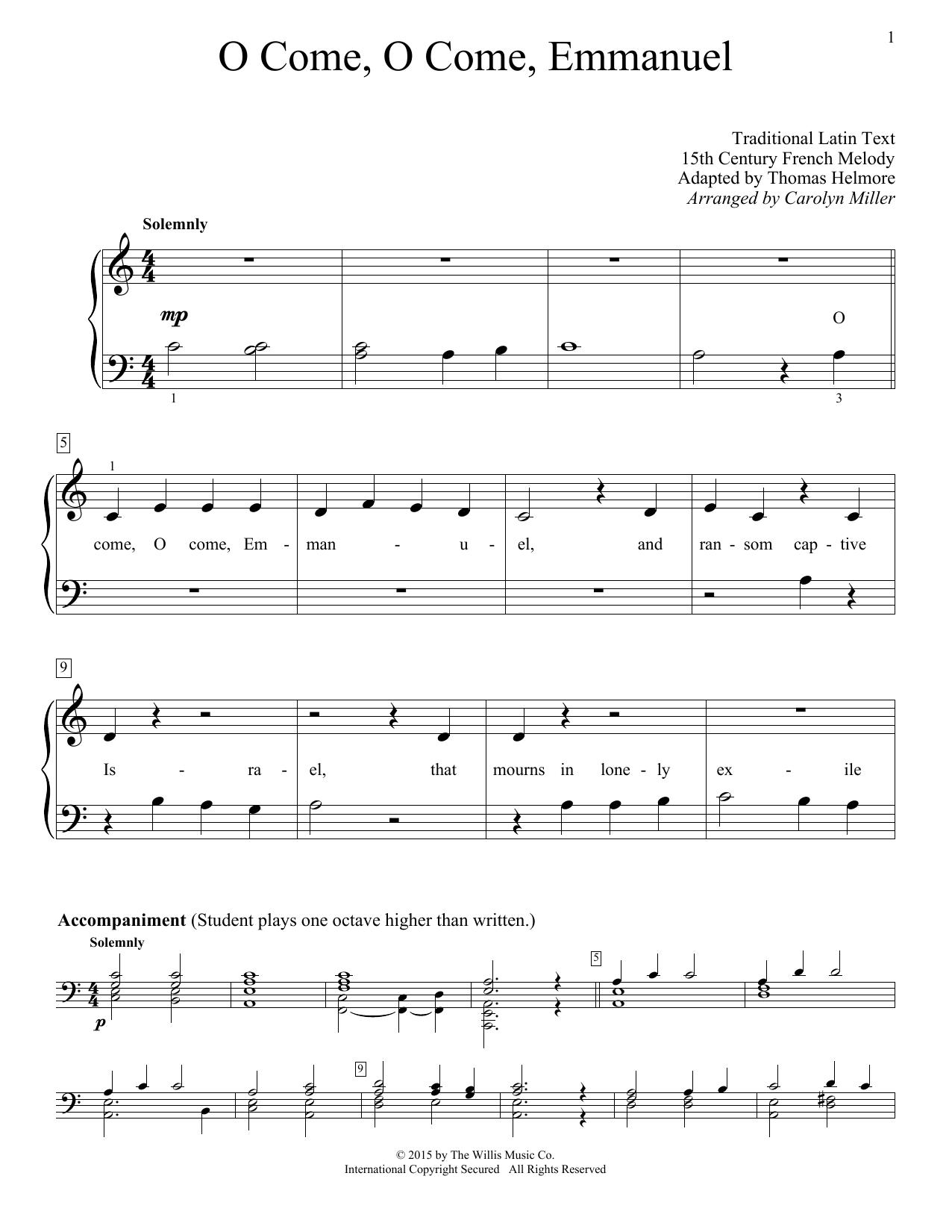 Partition piano O Come, O Come, Emmanuel de Christmas Carol - Piano Facile