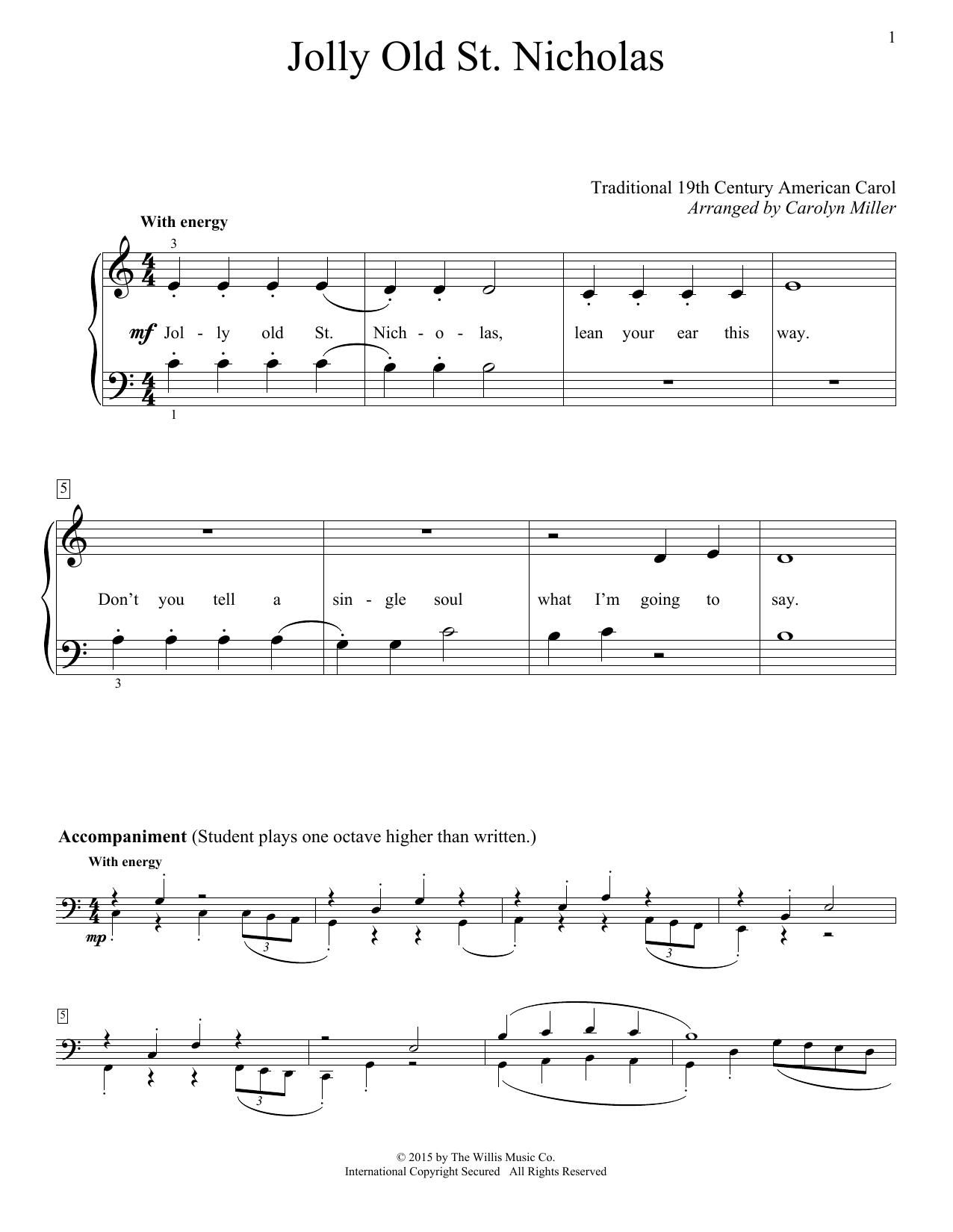 Partition piano Jolly Old St. Nicholas de Christmas Carol - Piano Facile