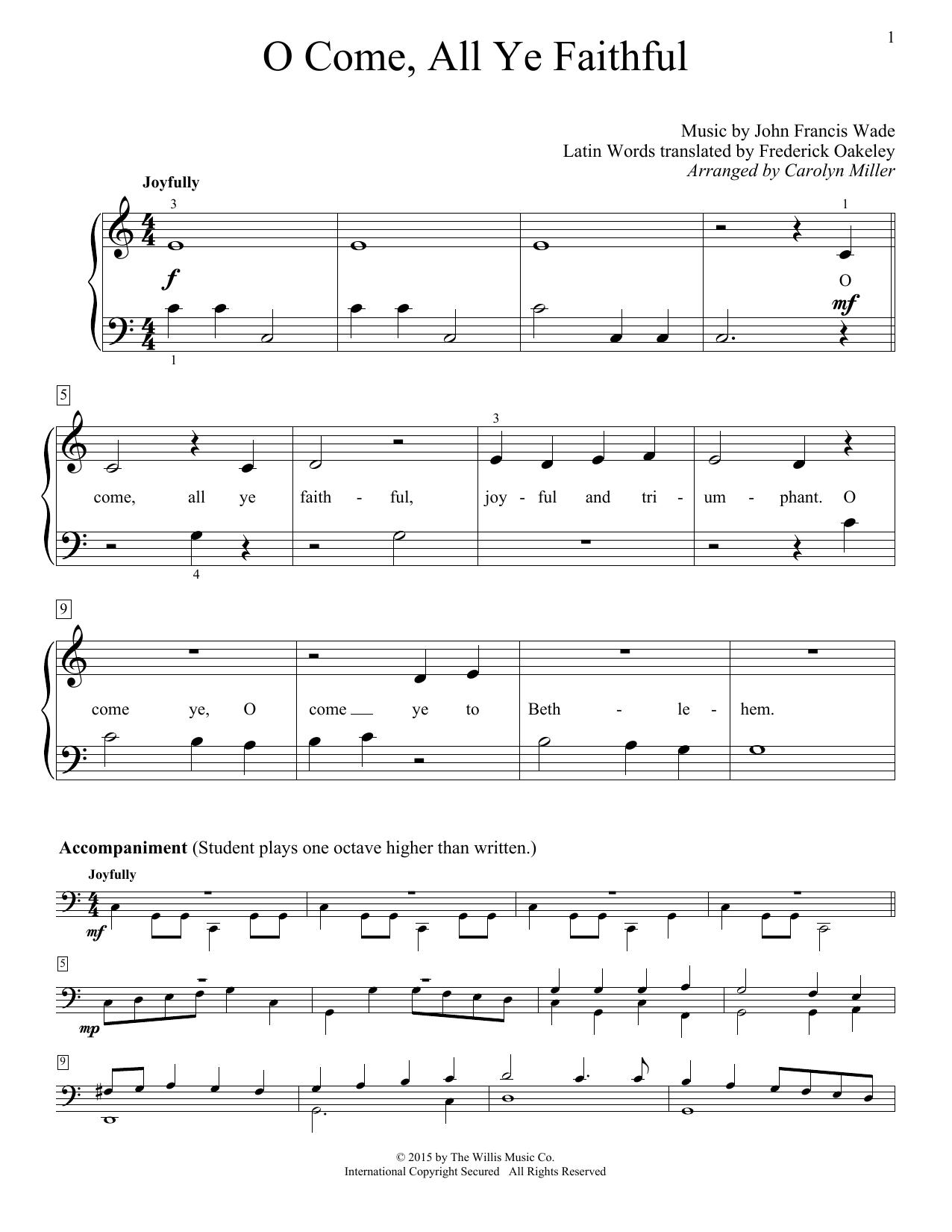 Partition piano O Come, All Ye Faithful (Adeste Fideles) de Carolyn Miller - Piano Facile