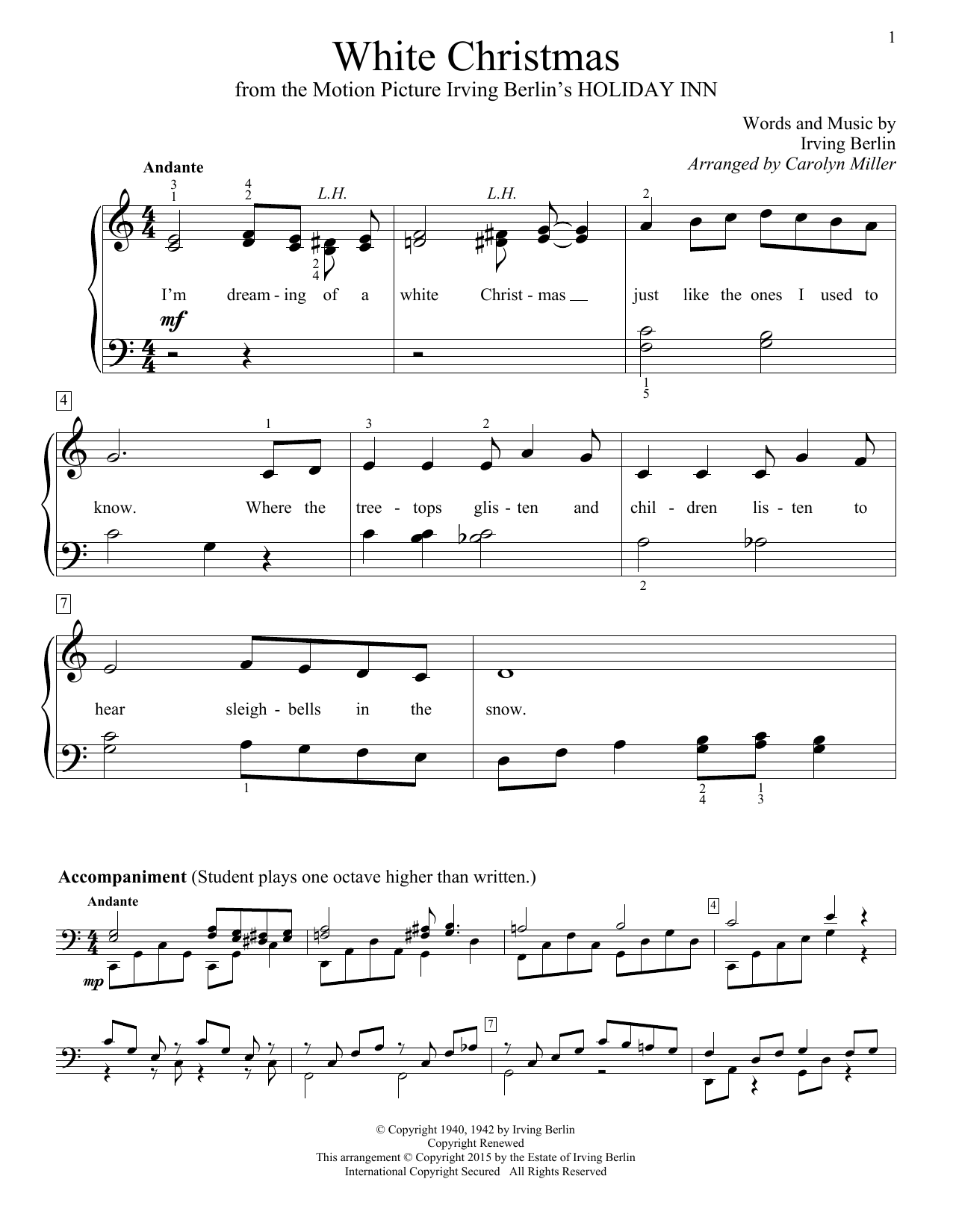 Partition piano White Christmas de Carolyn Miller - Piano Facile