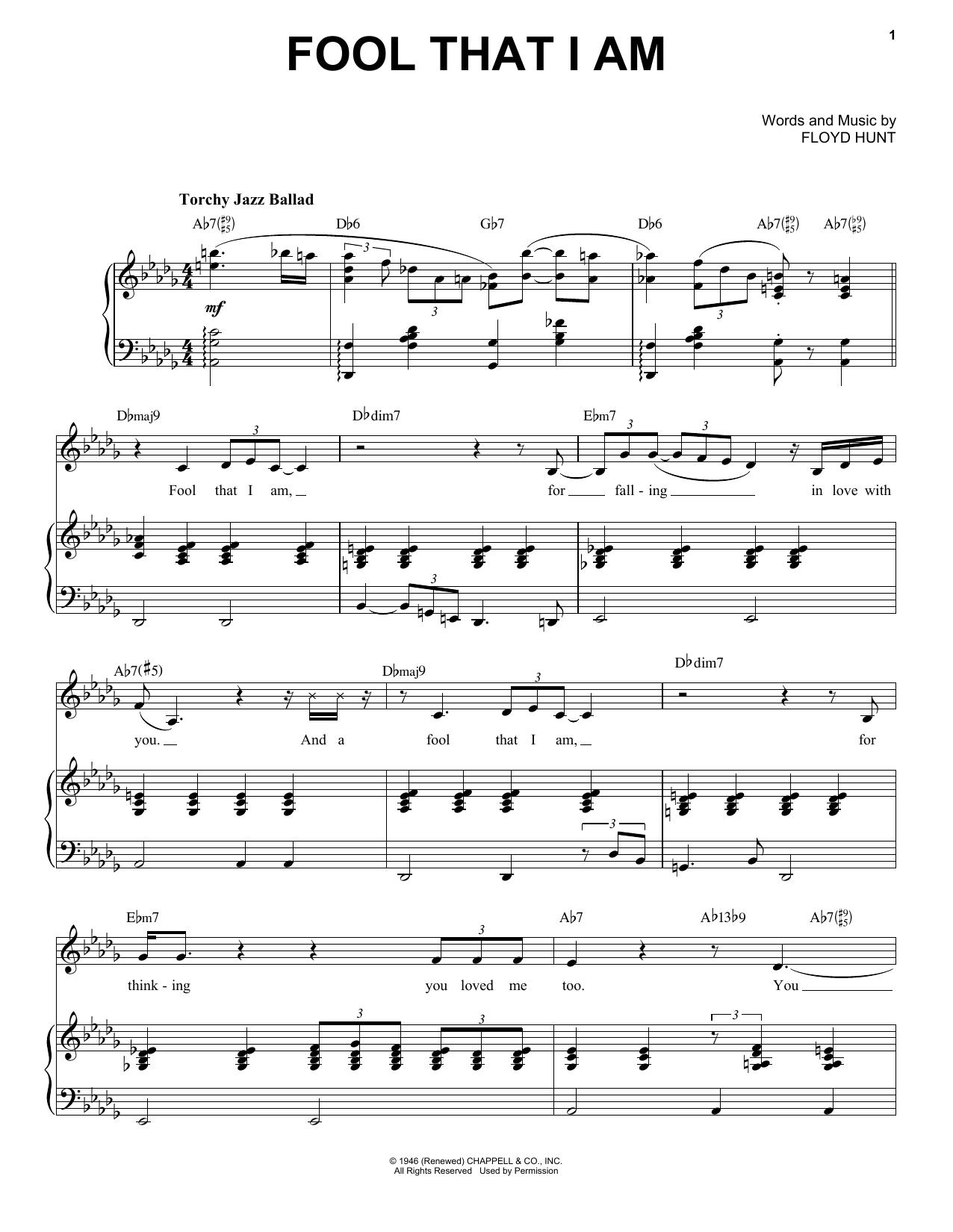 Partition piano Fool That I Am de Etta James - Piano Voix