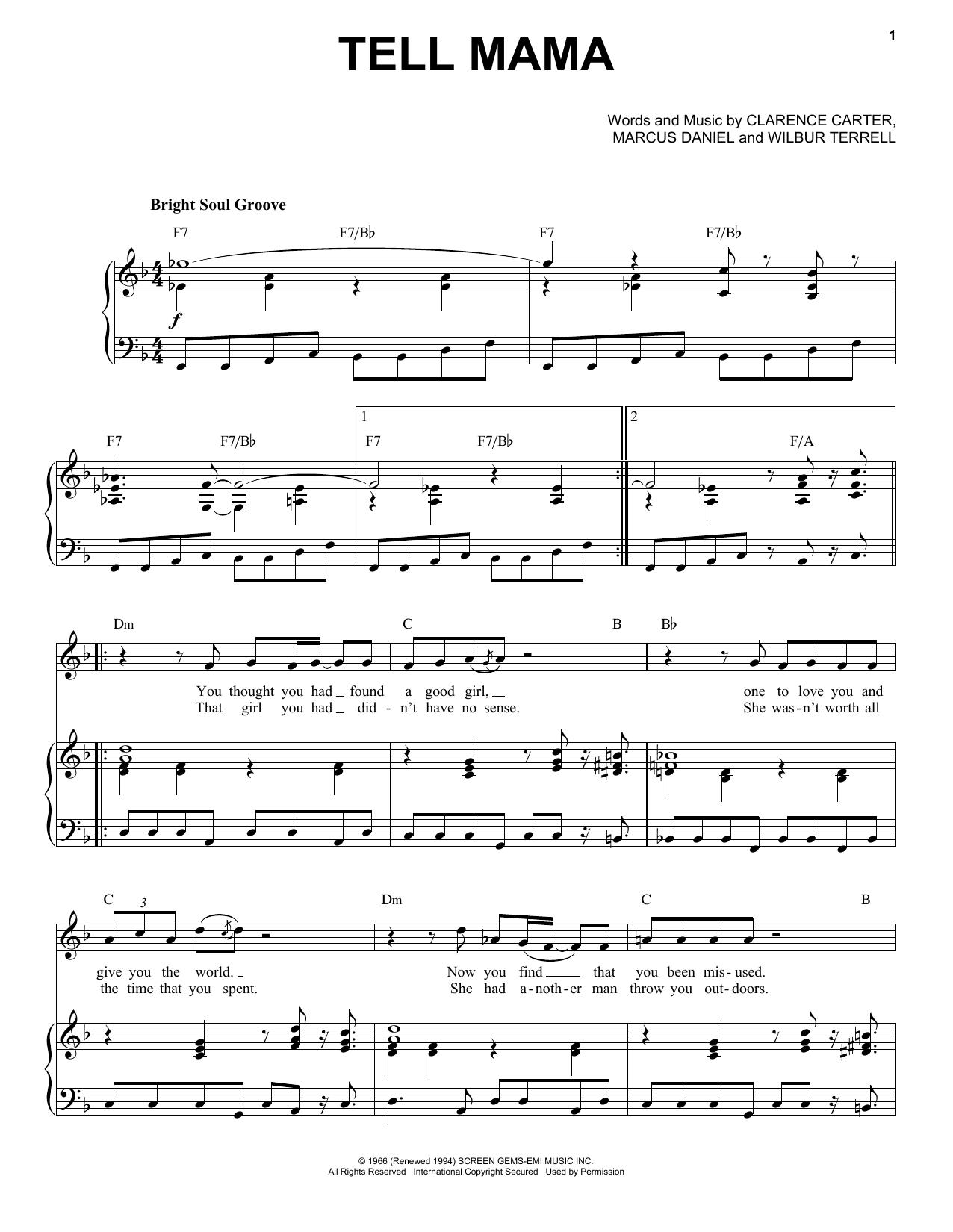 Partition piano Tell Mama de Etta James - Piano Voix