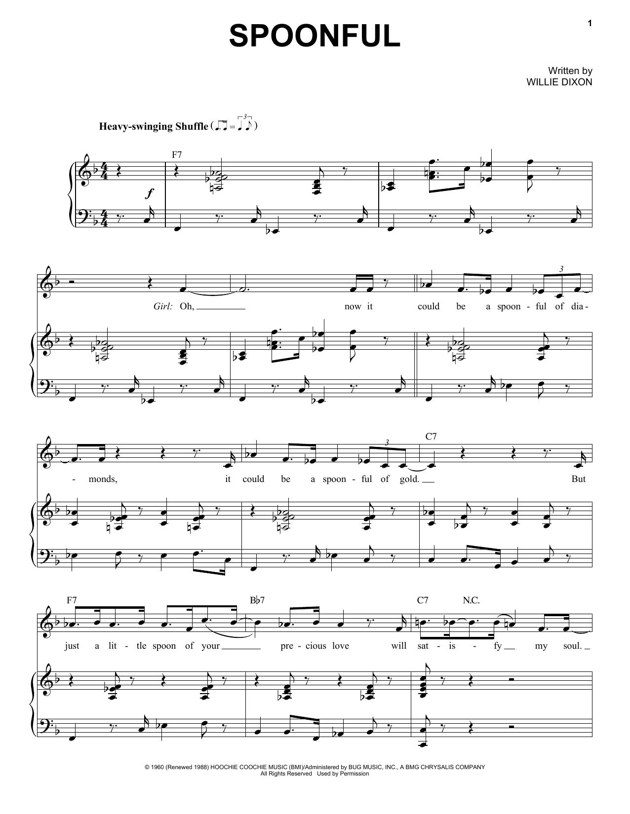 Partition piano Spoonful de Etta James - Piano Voix