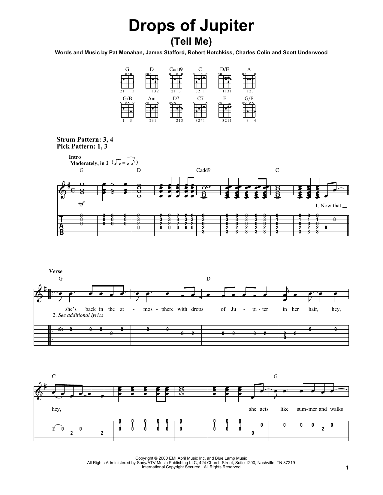 Tablature guitare Drops Of Jupiter (Tell Me) de Train - Tablature guitare facile