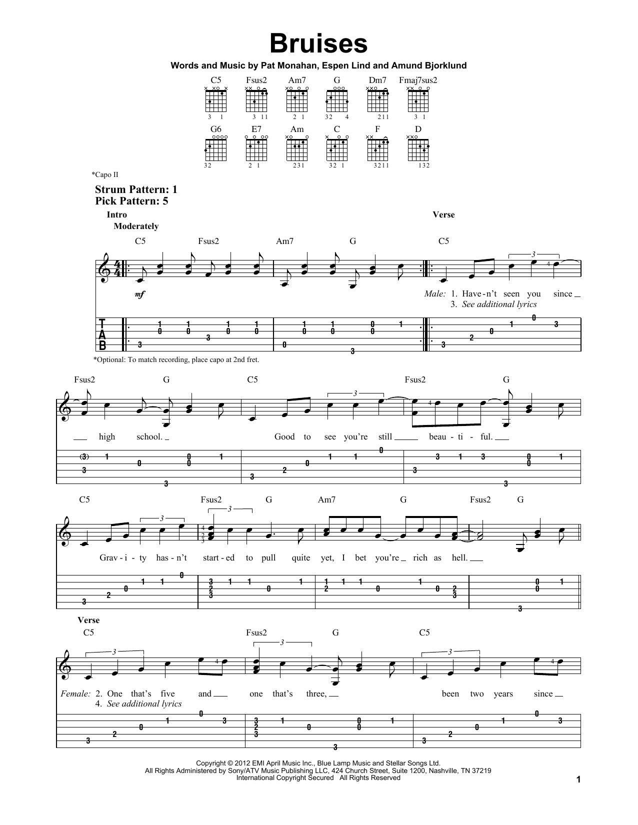 Tablature guitare Bruises de Train - Tablature guitare facile