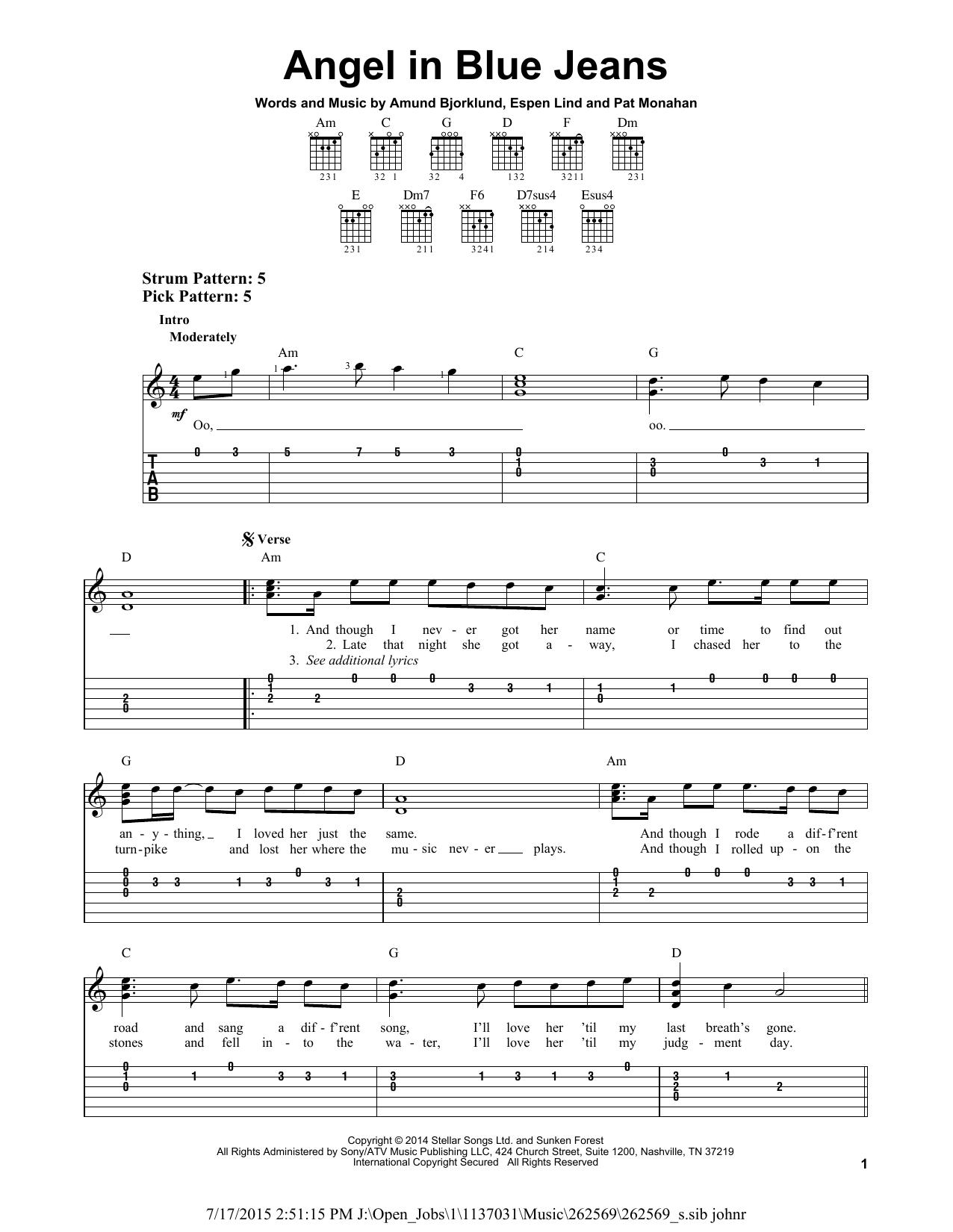 Tablature guitare Angel In Blue Jeans de Train - Tablature guitare facile