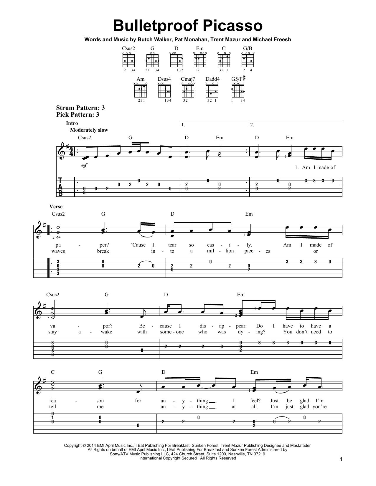 Tablature guitare Bulletproof Picasso de Train - Tablature guitare facile