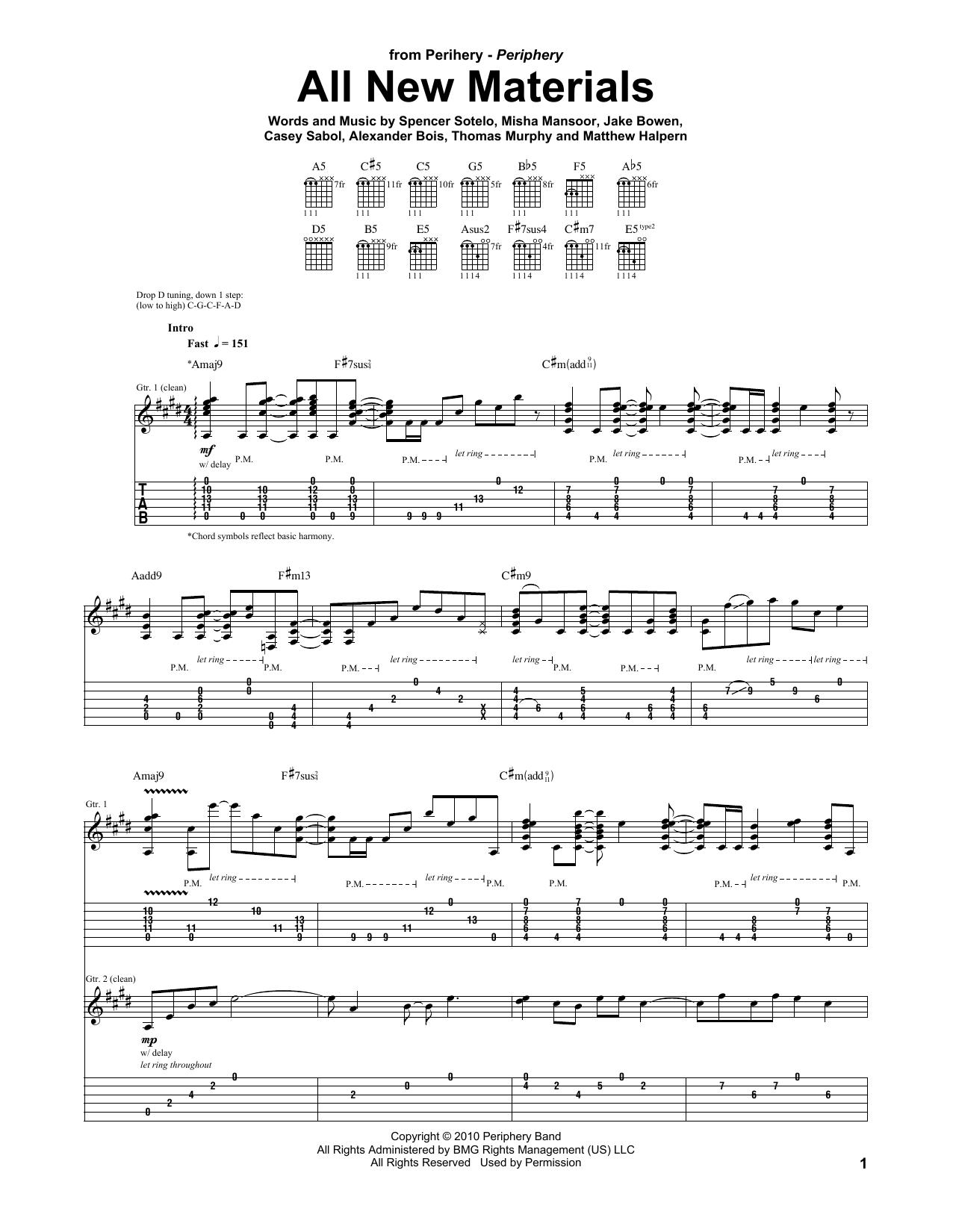 Tablature guitare All New Materials de Periphery - Tablature Guitare