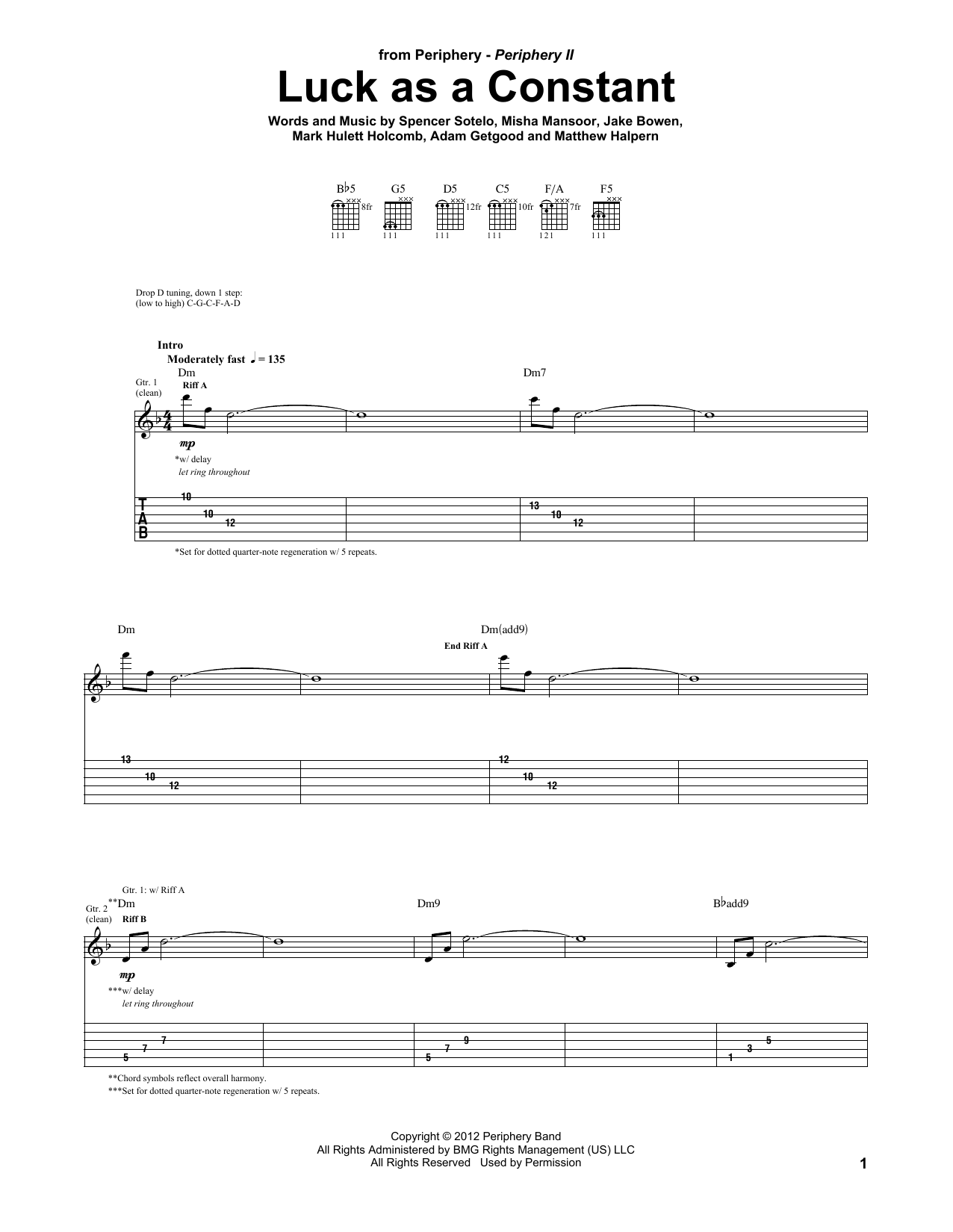 Tablature guitare Luck As A Constant de Periphery - Tablature Guitare