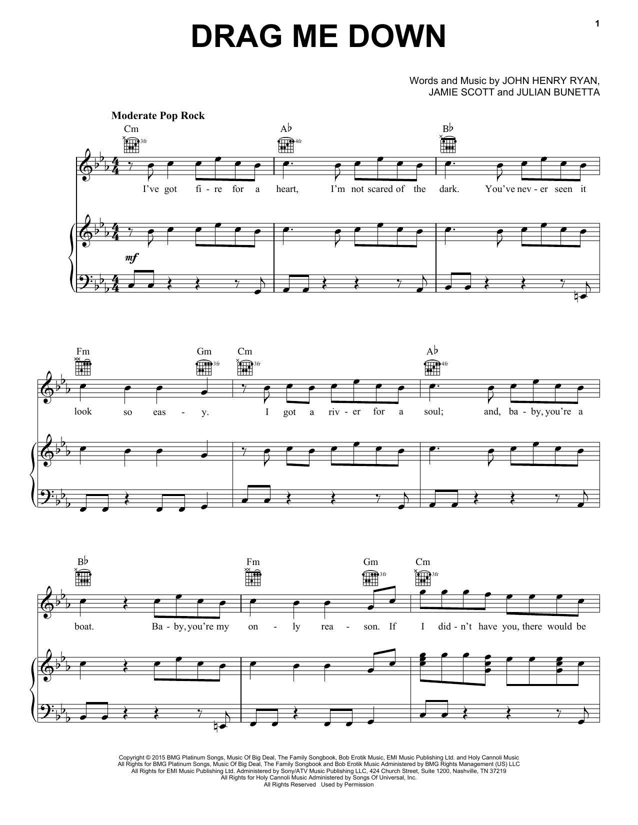 Partition piano Drag Me Down de One Direction - Piano Voix Guitare (Mélodie Main Droite)