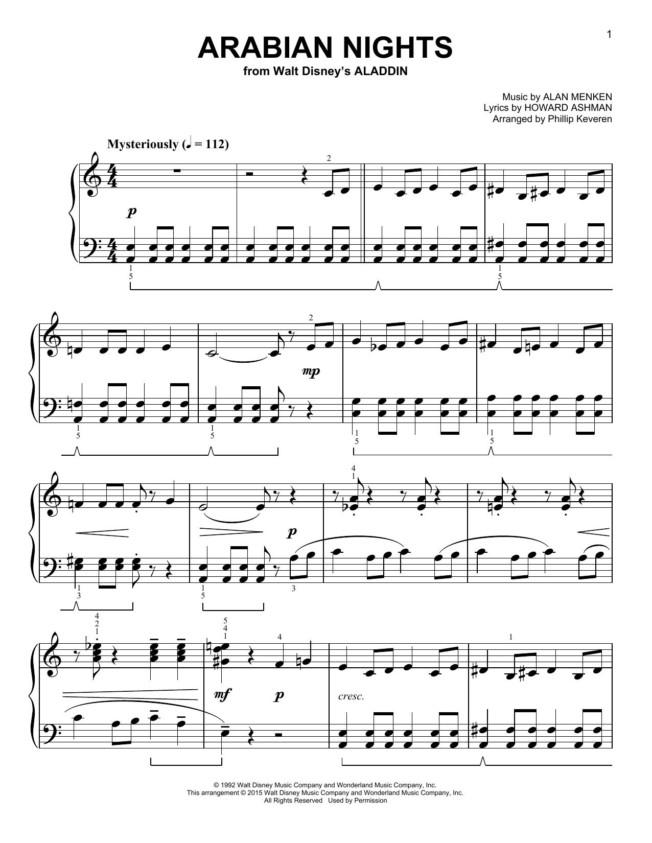 Partition piano Arabian Nights de Phillip Keveren - Piano Facile