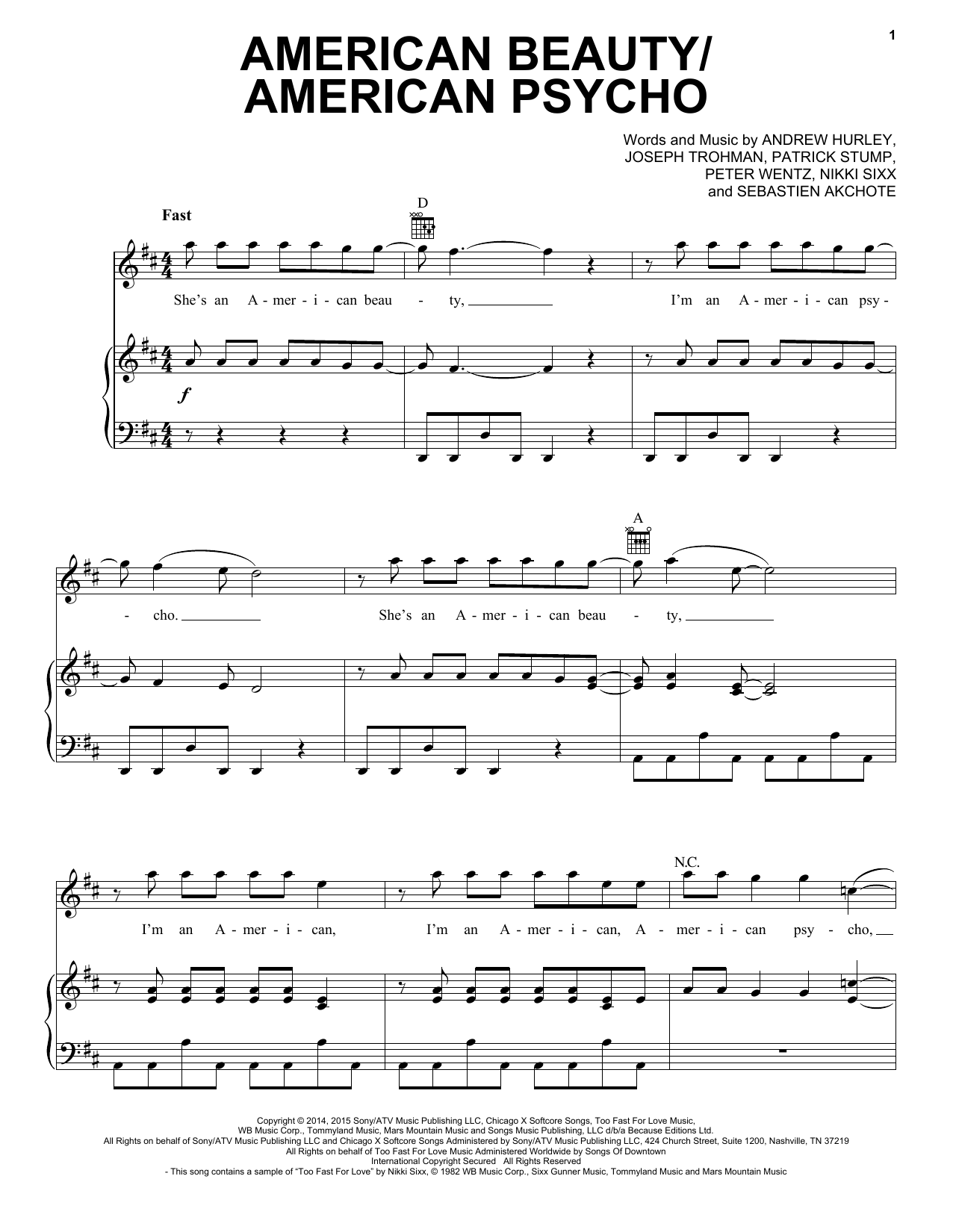 Partition piano American Beauty/American Psycho de Fall Out Boy - Piano Voix Guitare (Mélodie Main Droite)