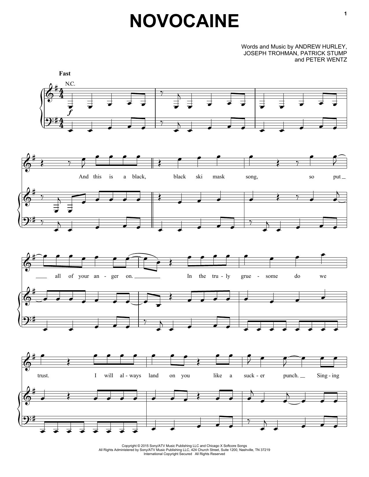Partition piano Novocaine de Fall Out Boy - Piano Voix Guitare (Mélodie Main Droite)