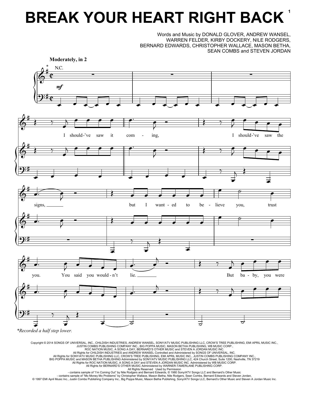 Partition piano Break Your Heart Right Back de Ariana Grande - Piano Voix Guitare (Mélodie Main Droite)