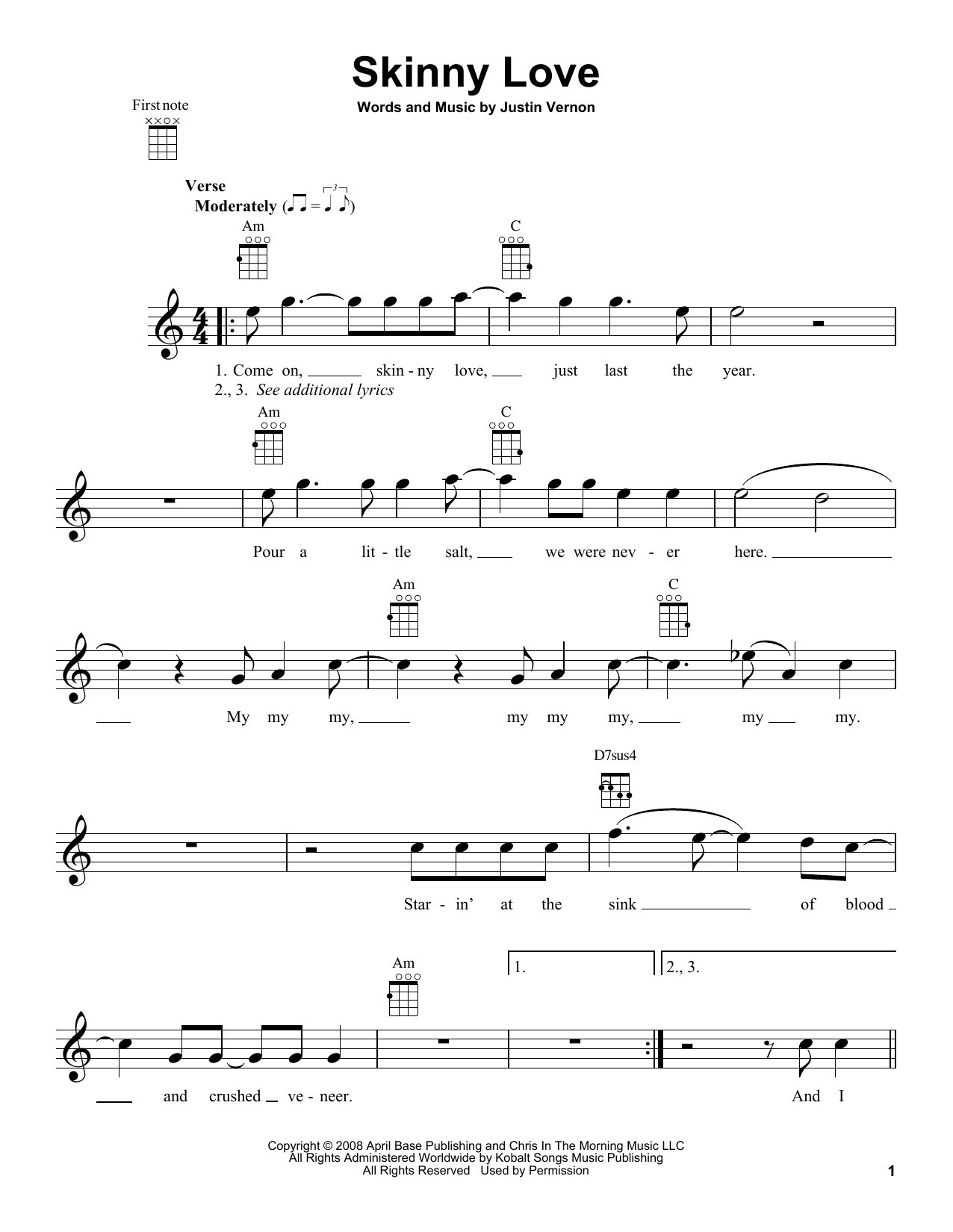 Tablature guitare Skinny Love de Bon Iver - Ukulele