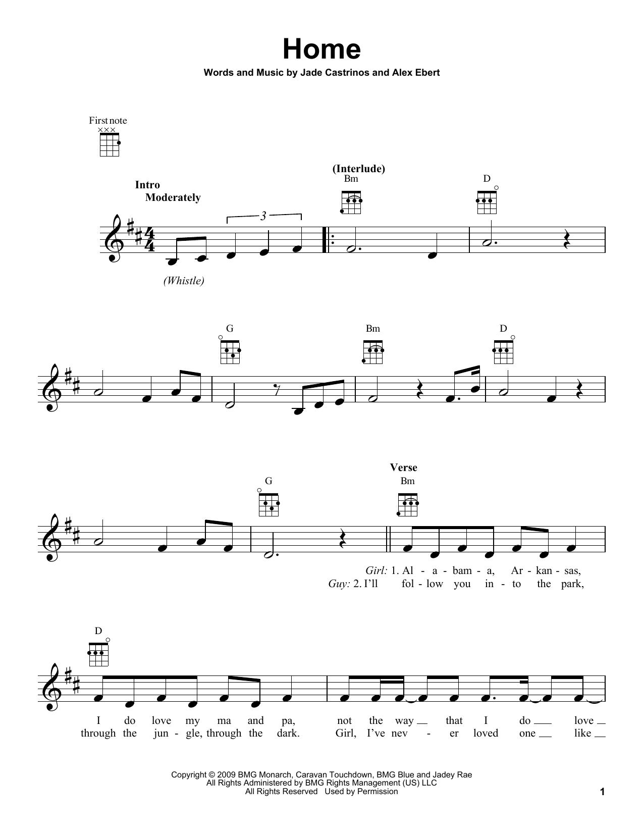 Tablature guitare Home de Edward Sharpe & the Magnetic Zeros - Ukulele