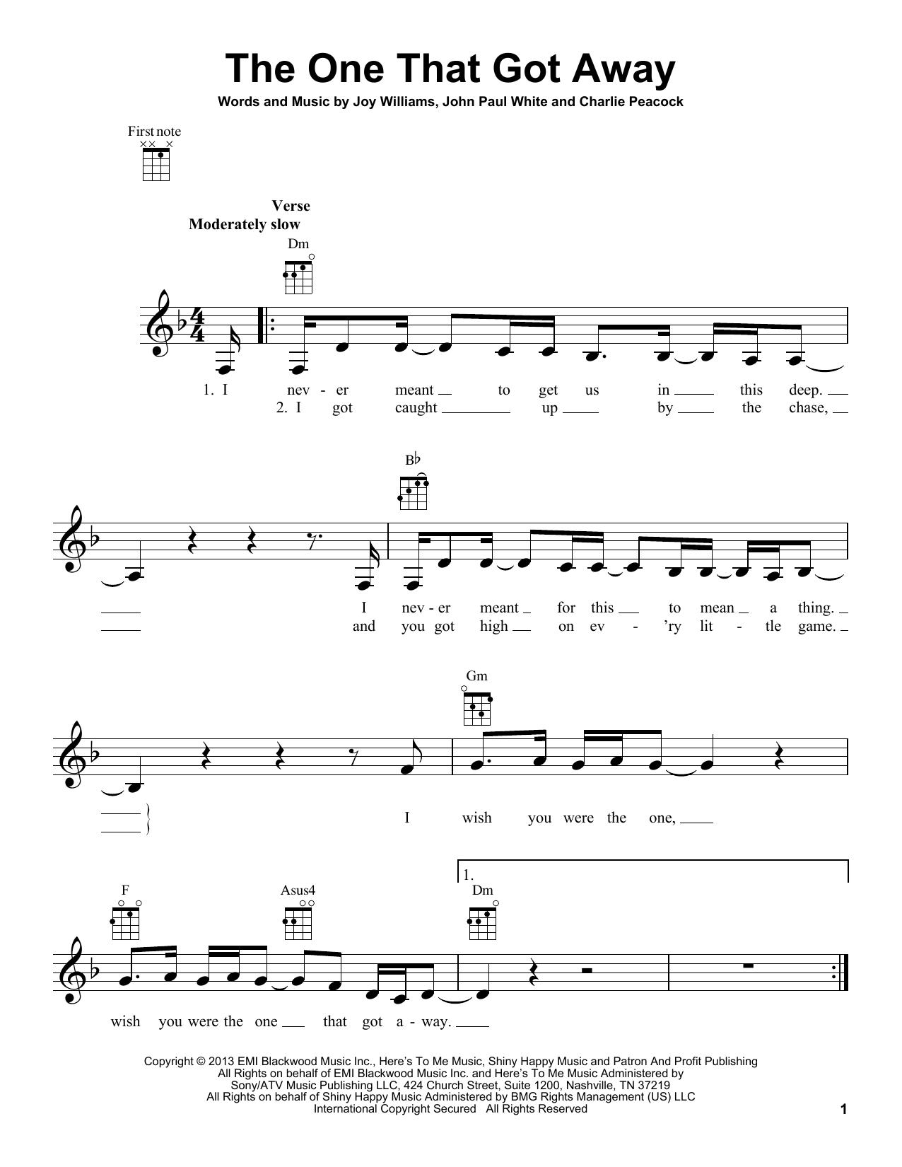 Tablature guitare The One That Got Away de The Civil Wars - Ukulele