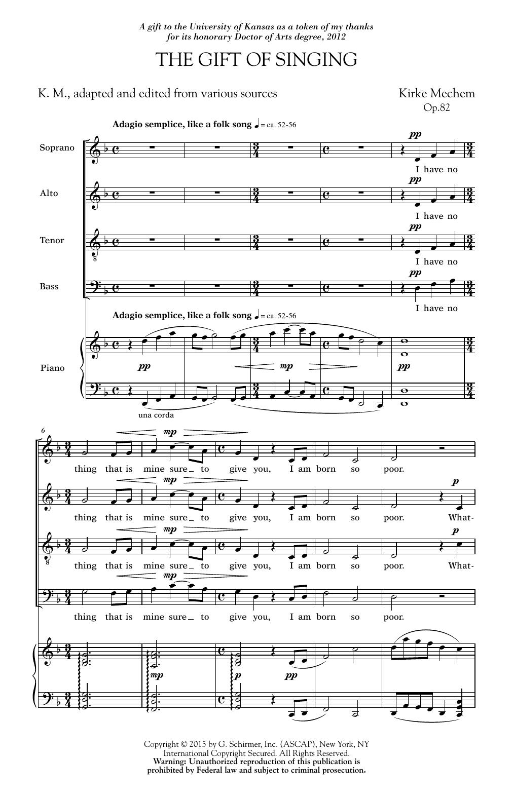 Partition chorale Gift Of Singing de Kirke Mechem - SATB