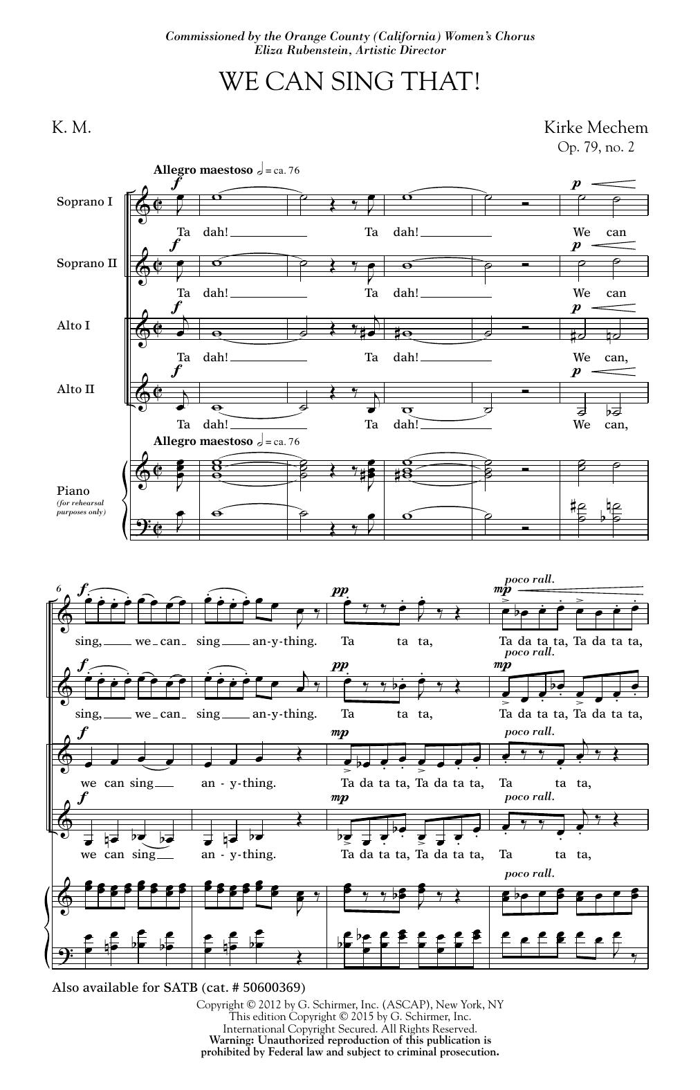 Partition chorale We Can Sing That de Kirke Mechem - SSA