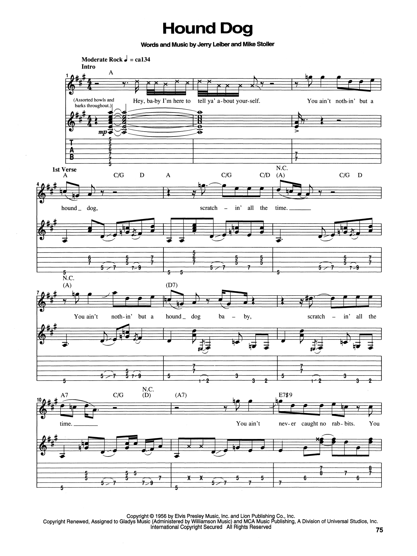 Tablature guitare Hound Dog de Elvis Presley - Tablature Guitare