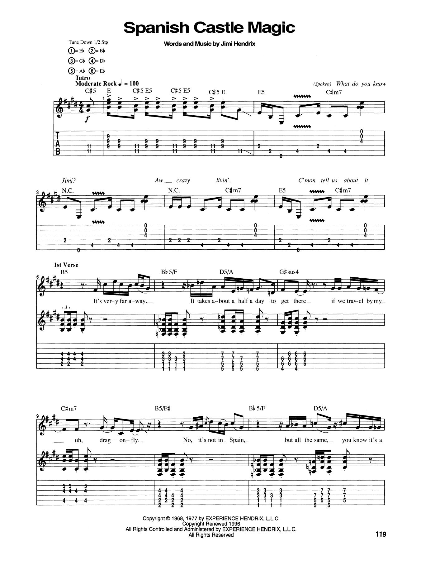 Tablature guitare Spanish Castle Magic de Jimi Hendrix - Tablature Guitare