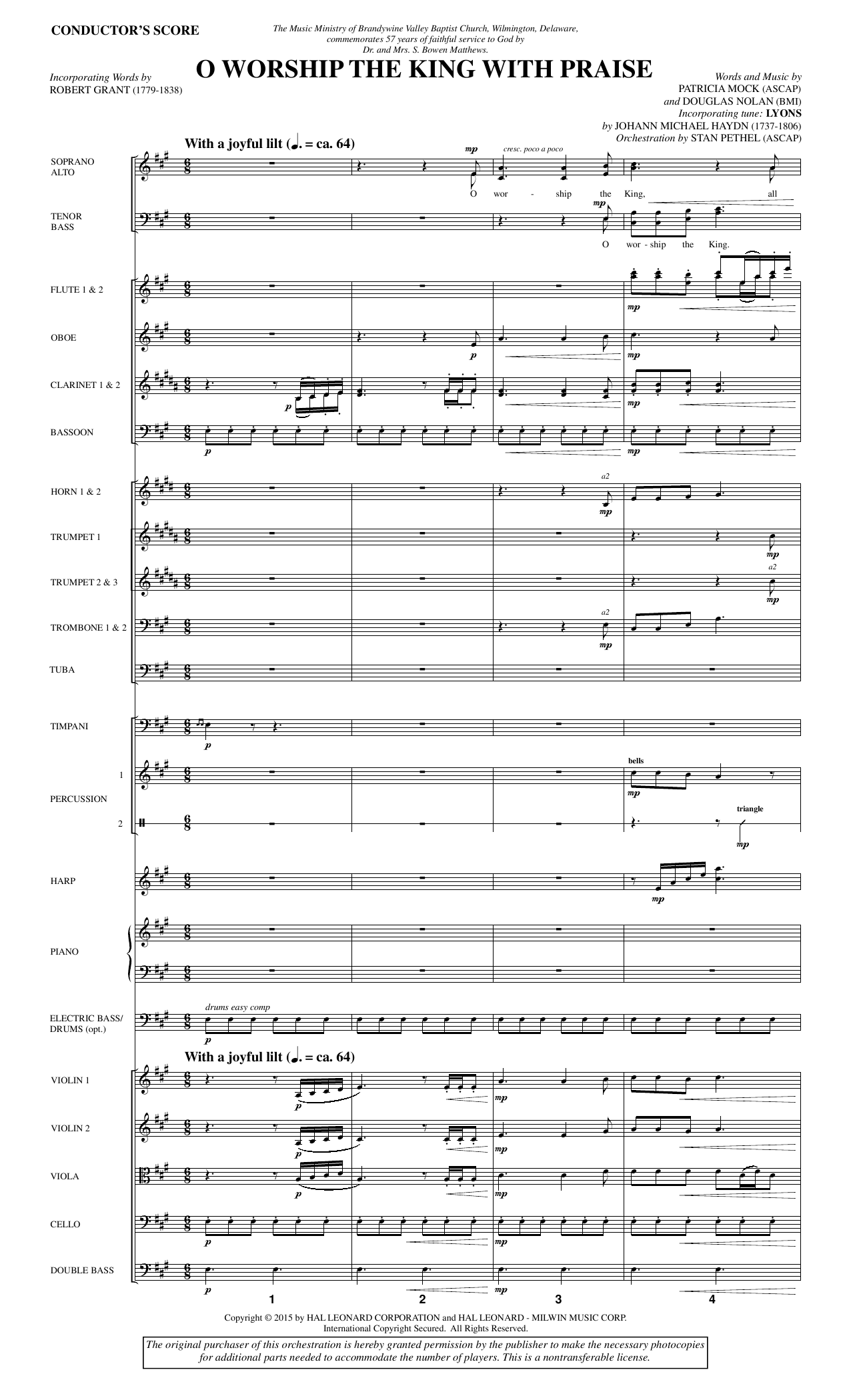O Worship the King with Praise (COMPLETE) sheet music for orchestra/band by Douglas Nolan