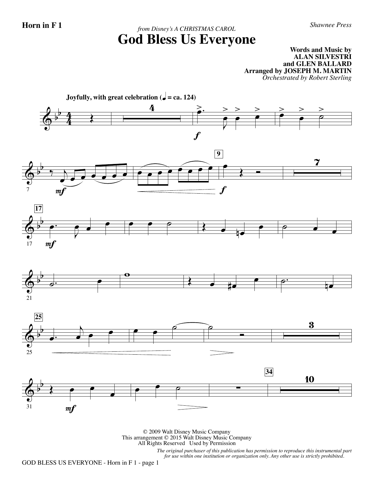 God Bless Us Everyone (from Disney's A Christmas Carol) - F Horn 1 | Sheet Music Direct
