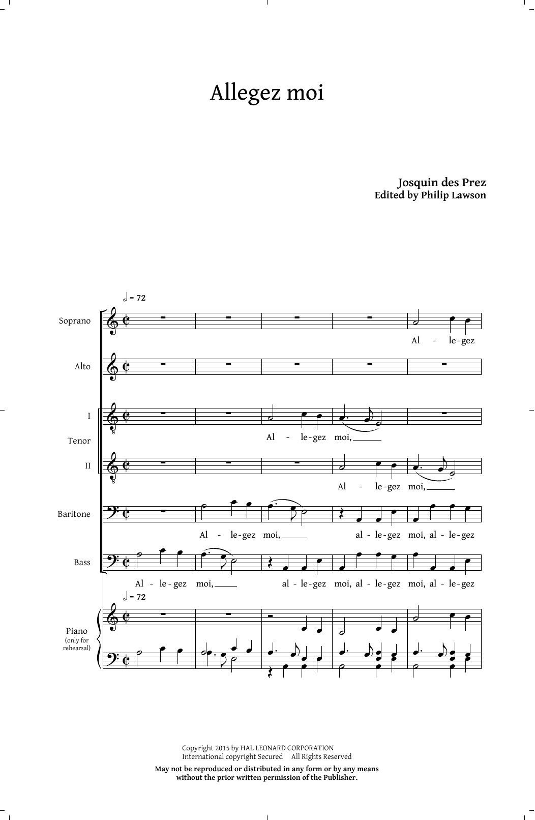 Partition chorale Allegez Moi (arr. Philip Lawson) de Josquin Des Prez - SATB