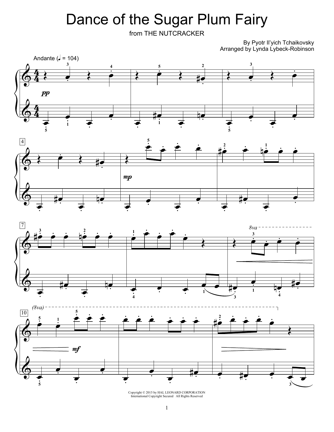 Partition piano Dance Of The Sugar Plum Fairy de Lynda Lybeck-Robinson - Piano Facile
