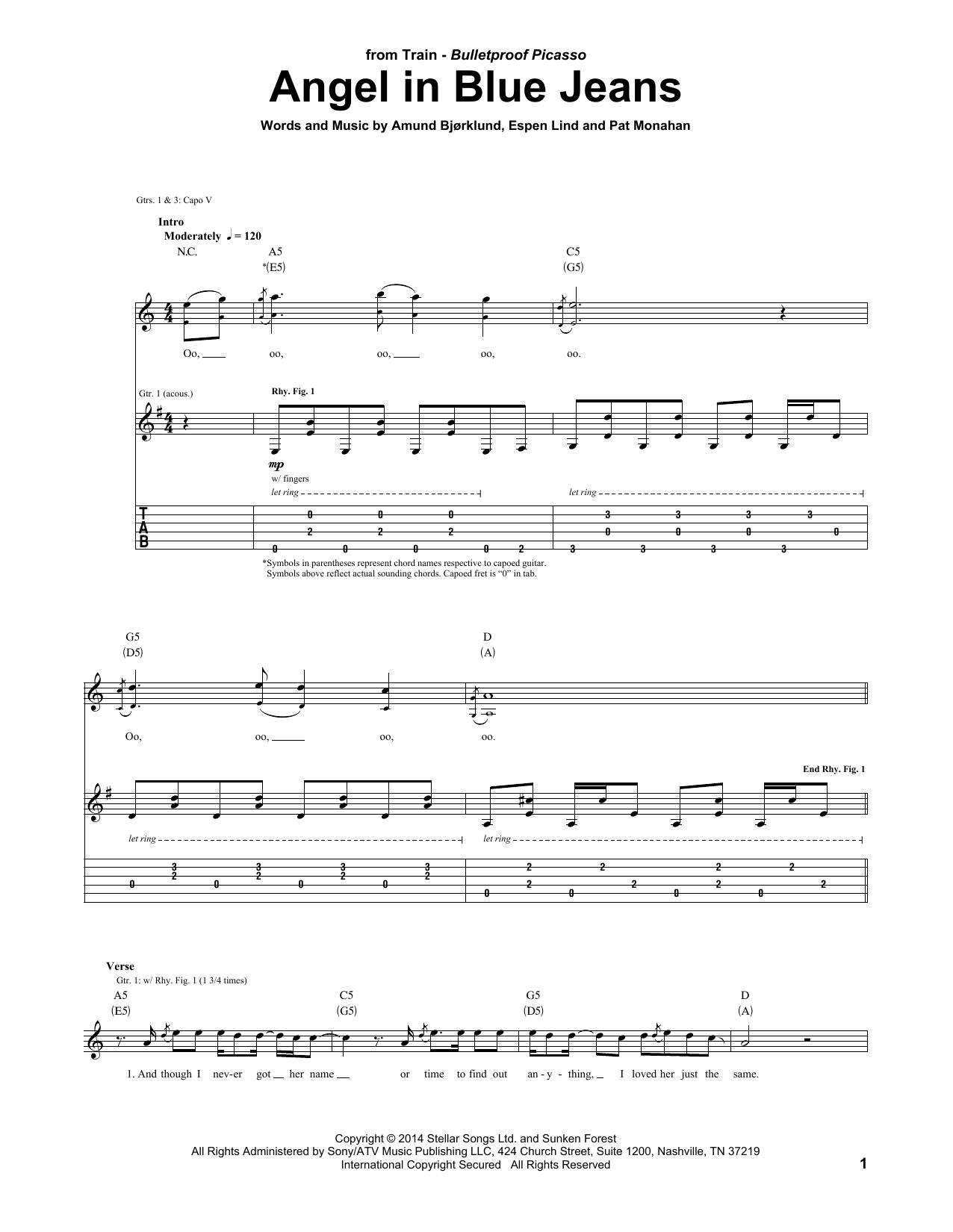 Tablature guitare Angel In Blue Jeans de Train - Tablature Guitare