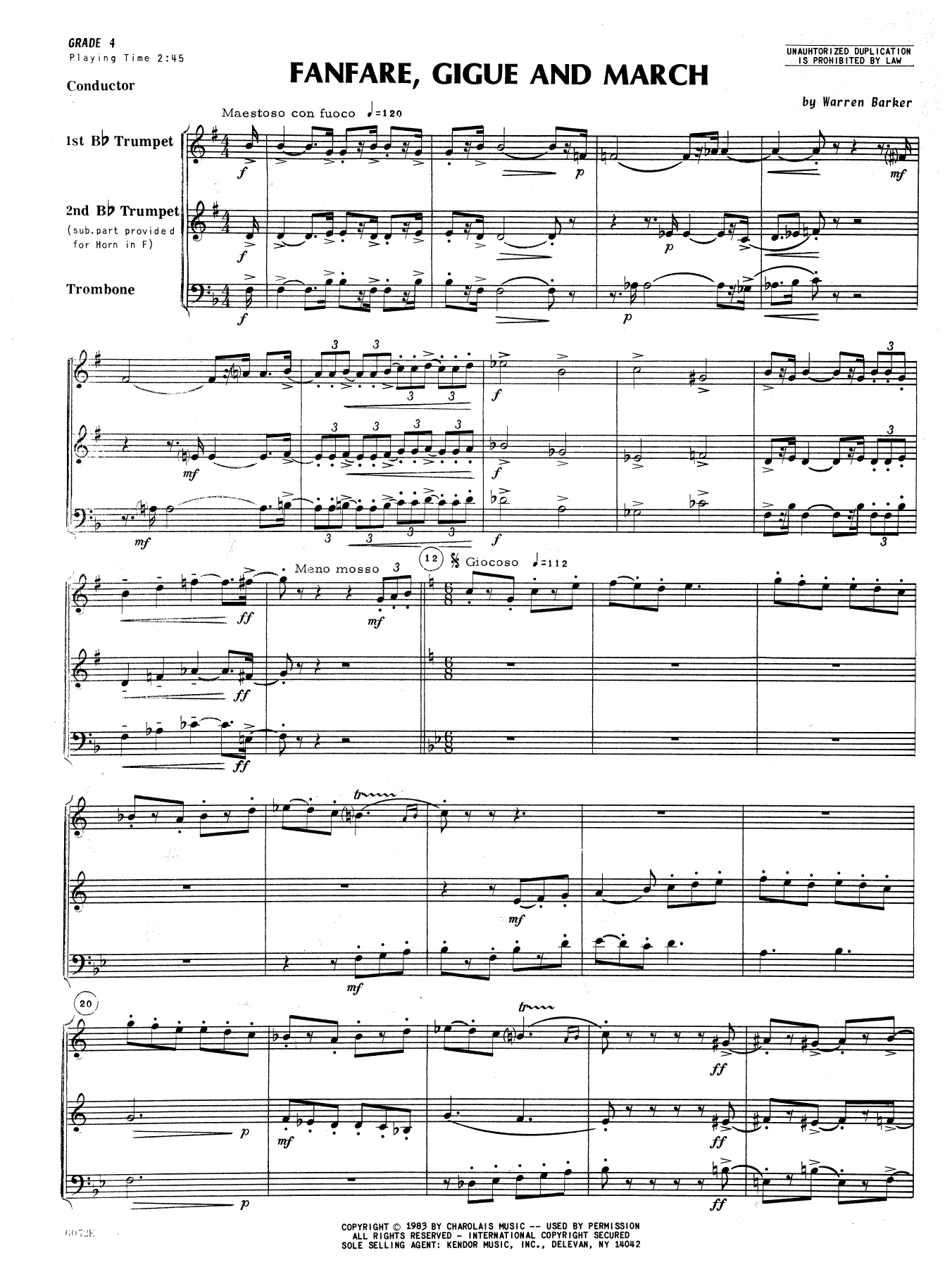Fanfare, Gigue And March (COMPLETE) sheet music for brass quartet by Barker