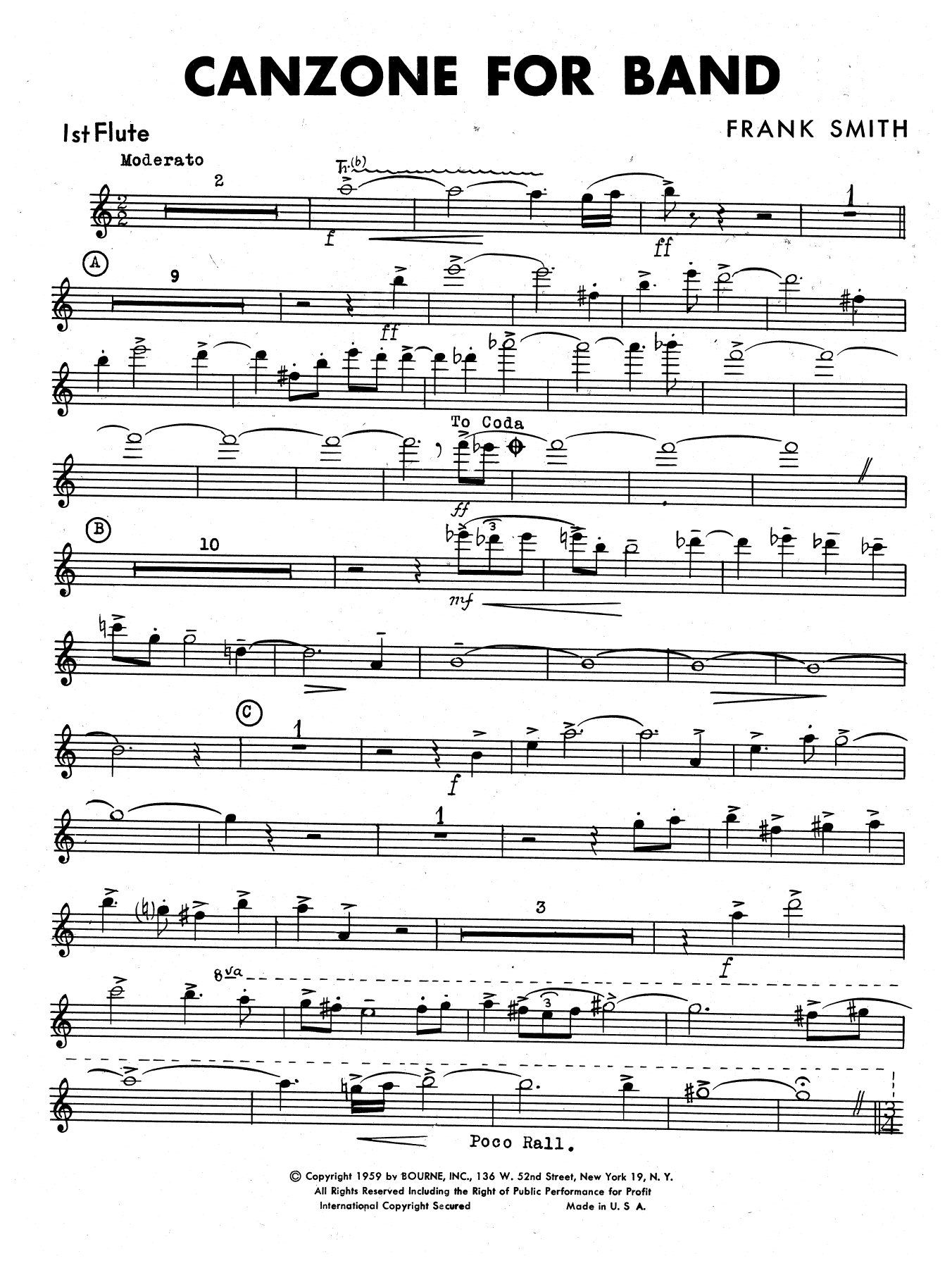 Canzone For Band - 1st Flute