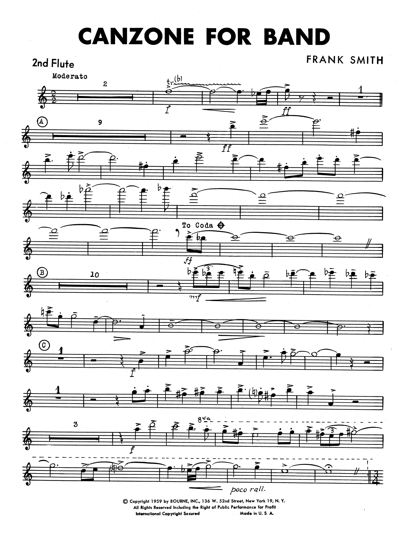 Canzone For Band - 2nd Flute
