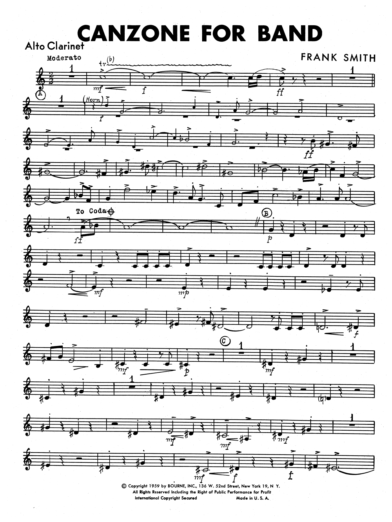 Canzone For Band - Alto Clarinet