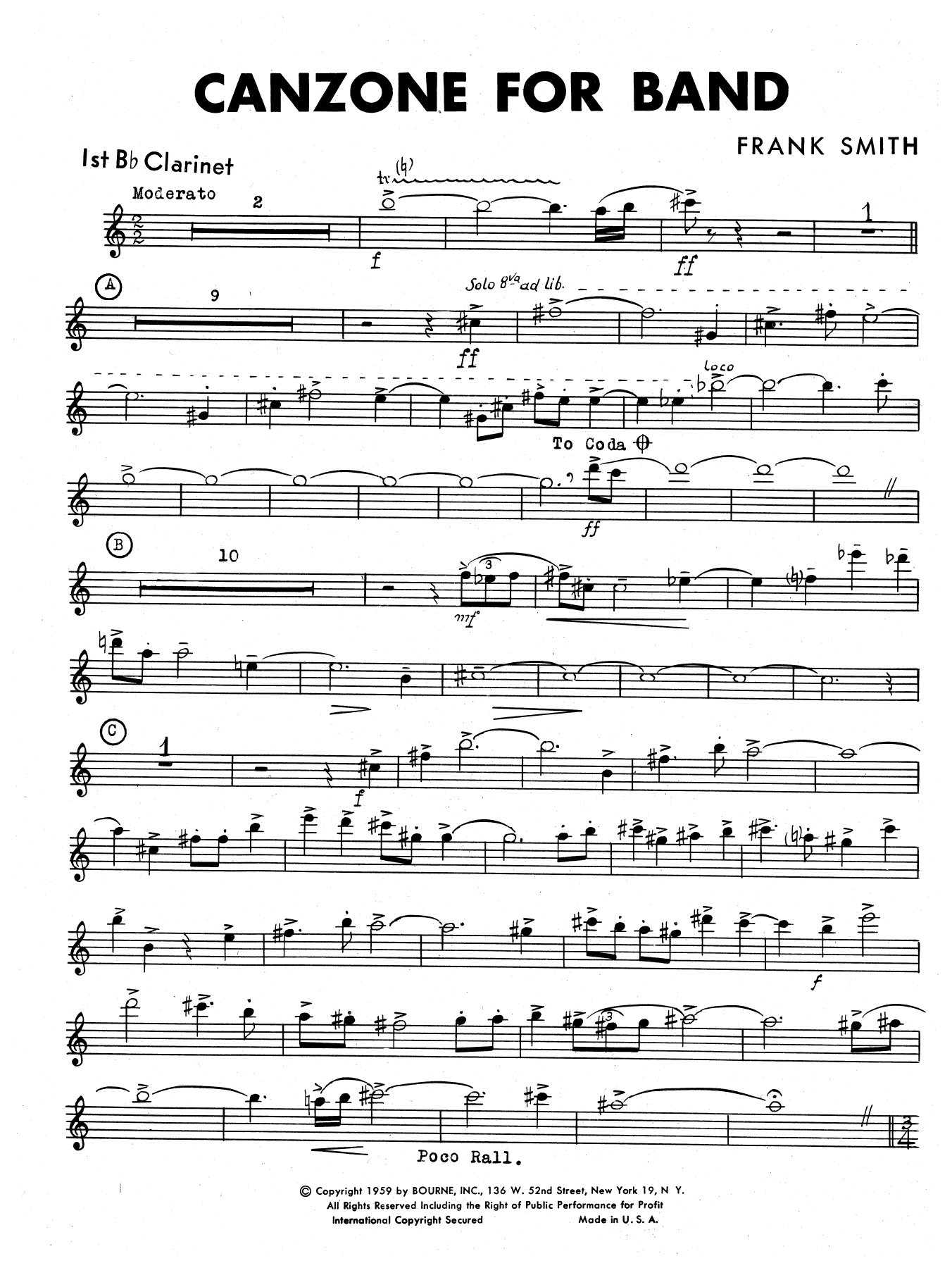 Canzone For Band - 1st Bb Clarinet