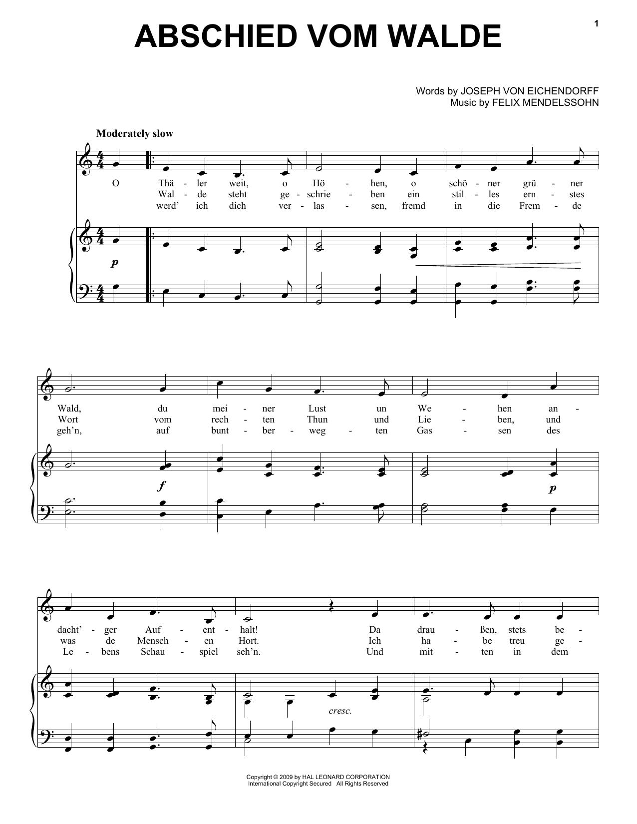 Partition piano Abschied Vom Walde de Felix Mendelssohn - Piano Voix Guitare (Mélodie Main Droite)