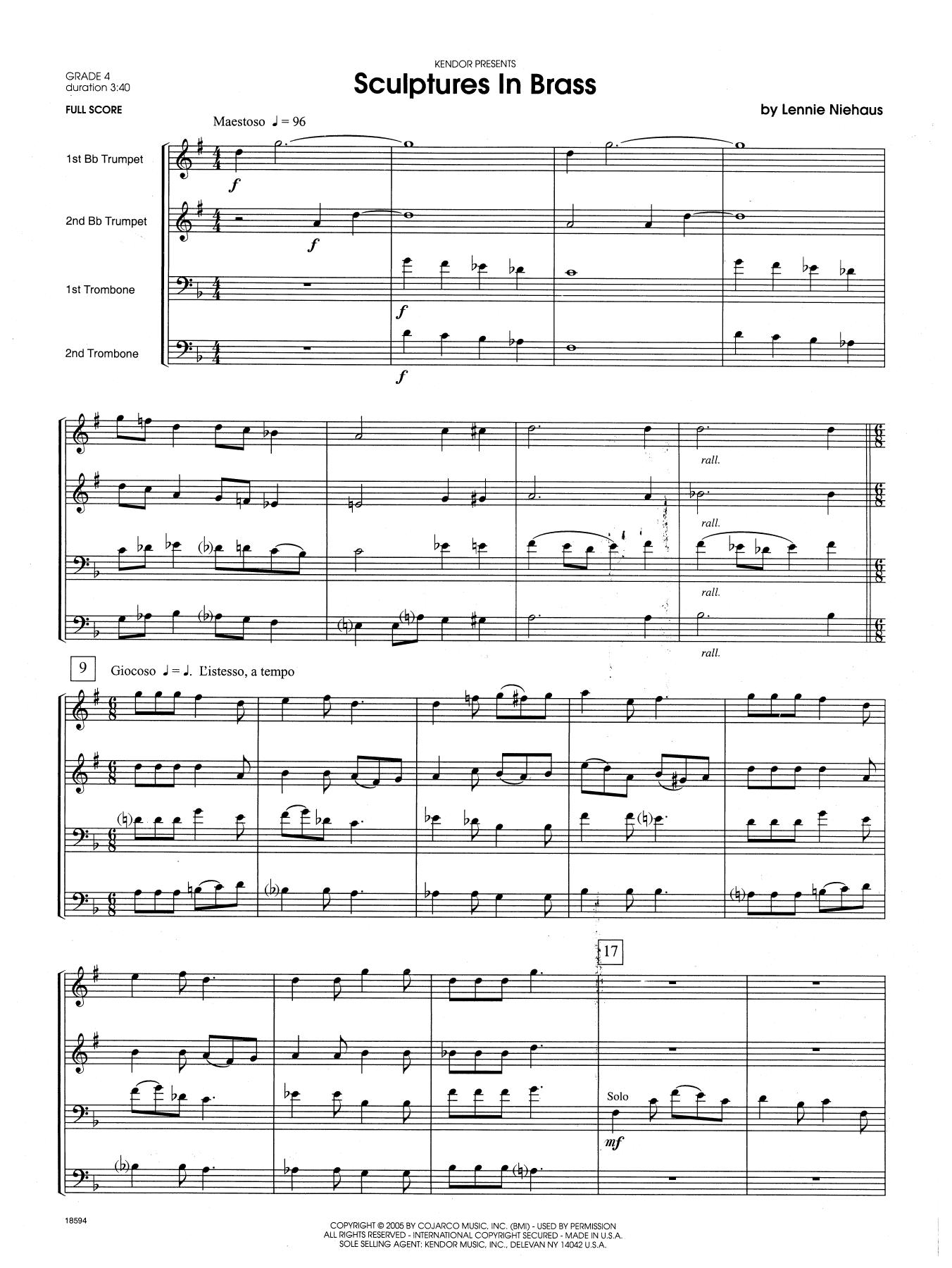 Sculptures In Brass (COMPLETE) sheet music for brass quartet by Lennie Niehaus
