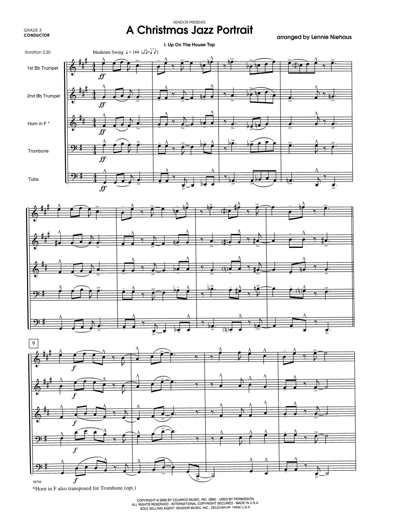 A Christmas Jazz Portrait (COMPLETE) sheet music for brass quintet by Lennie Niehaus