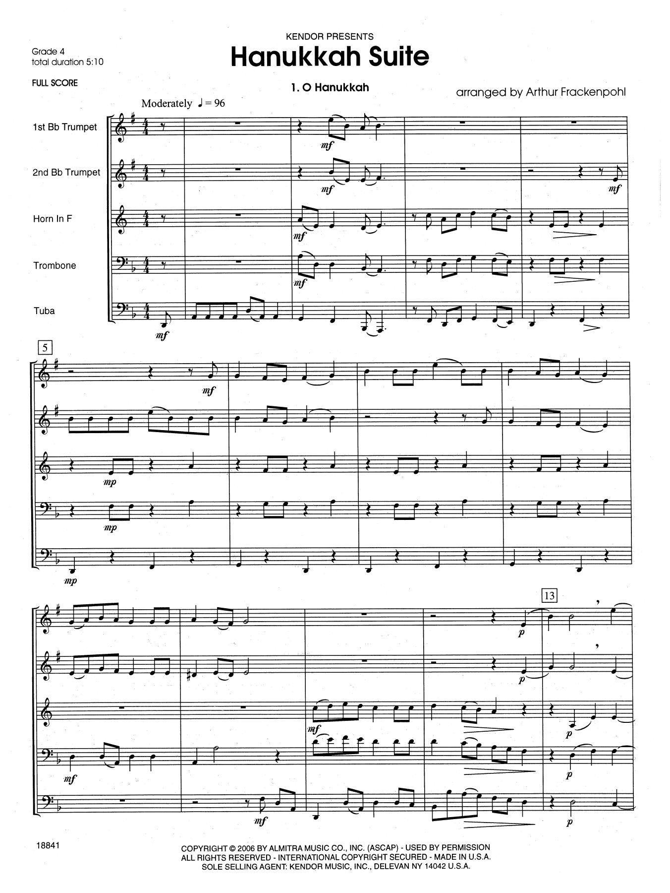 Hanukkah Suite (COMPLETE) sheet music for brass quintet by Arthur Frackenpohl
