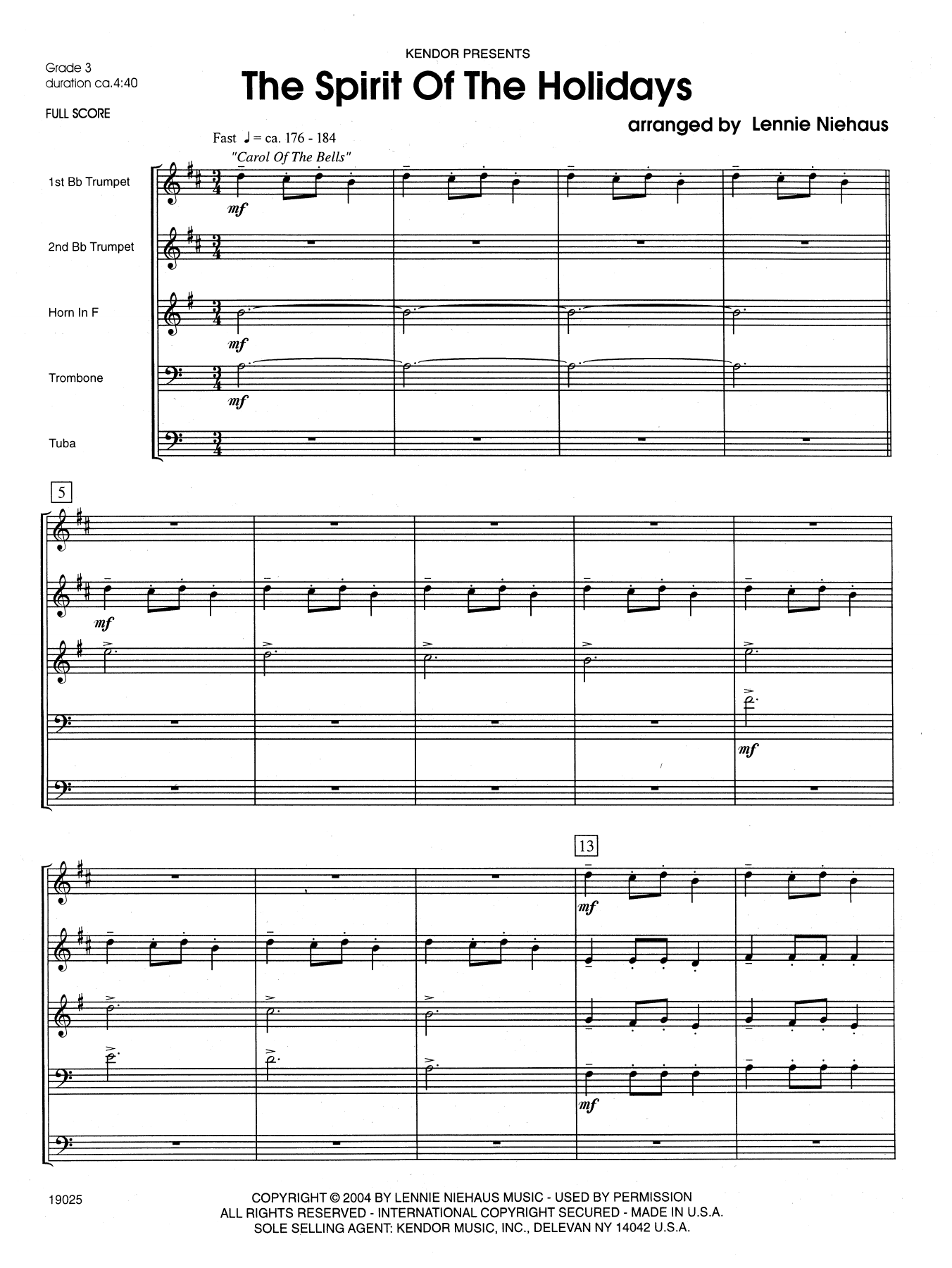 The Spirit Of The Holidays (COMPLETE) sheet music for brass quintet by Lennie Niehaus