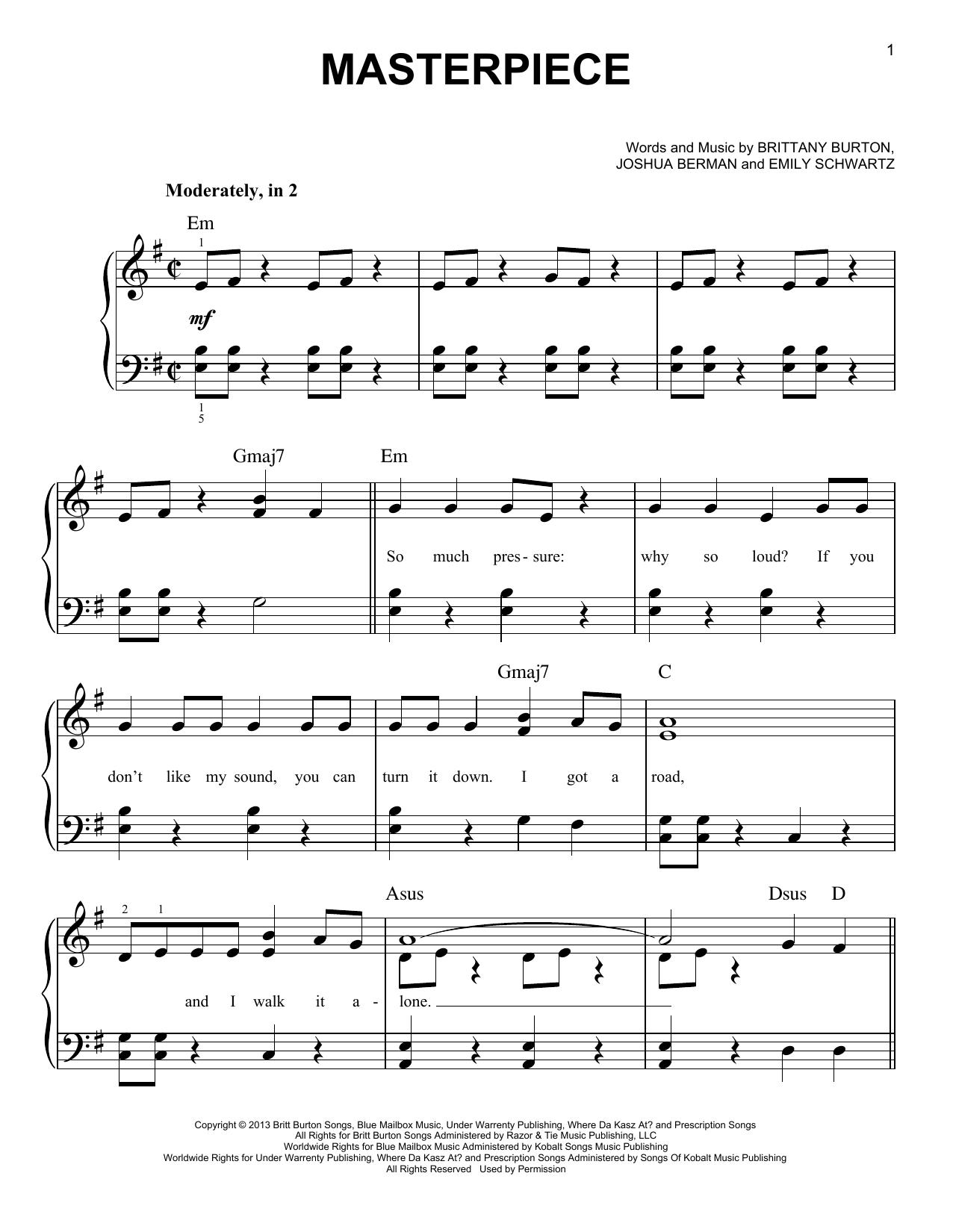 Partition piano Masterpiece de Jessie J - Piano Facile