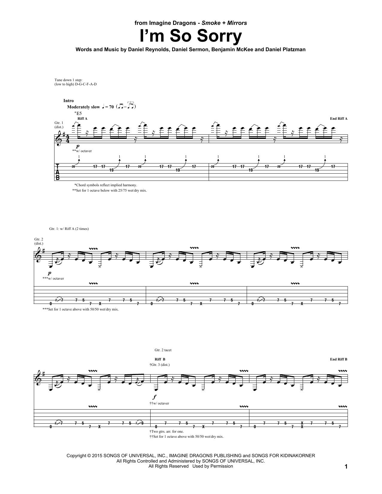 Tablature guitare I'm So Sorry de Imagine Dragons - Tablature Guitare