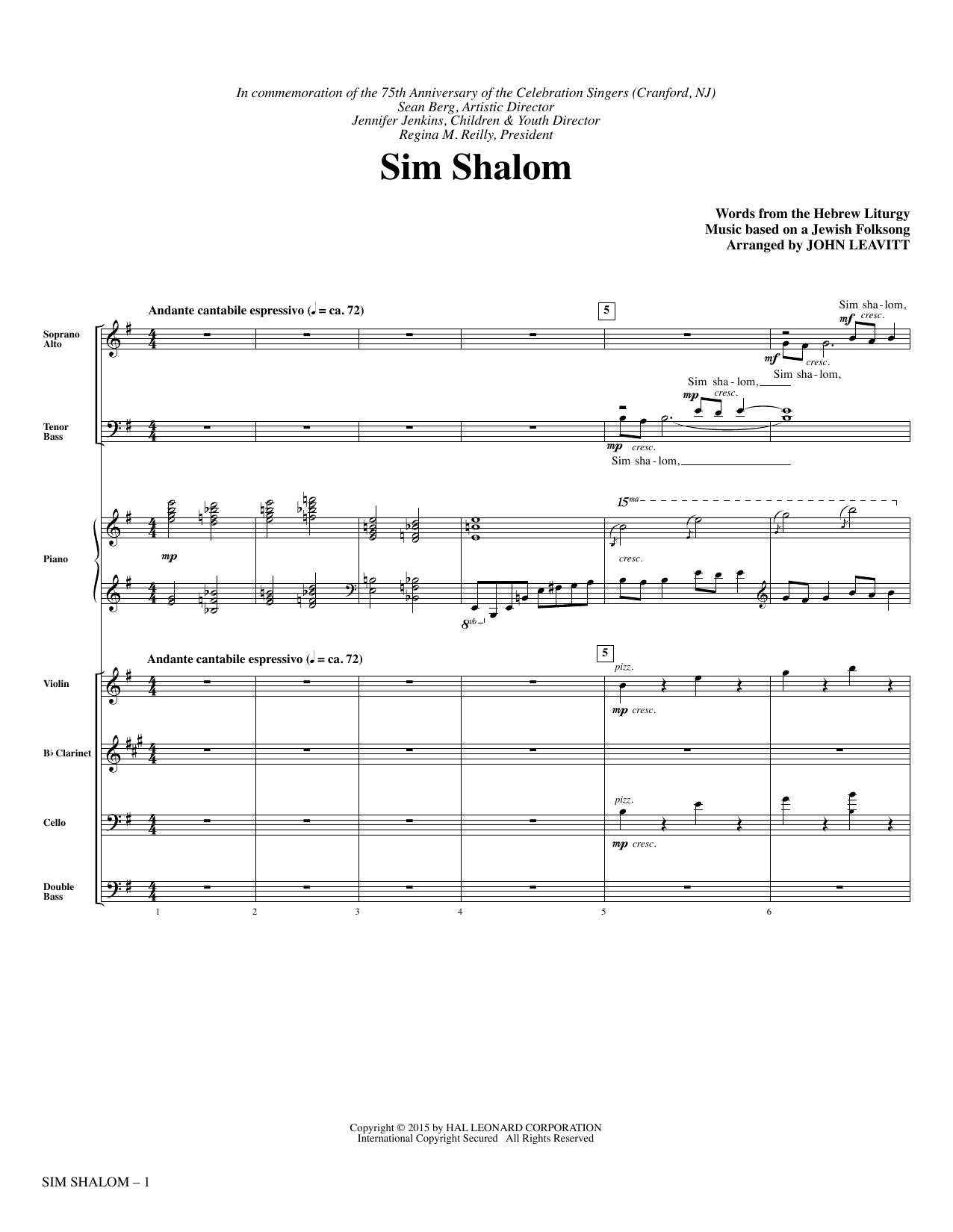 Sim Shalom (COMPLETE) sheet music for orchestra/band by John Leavitt