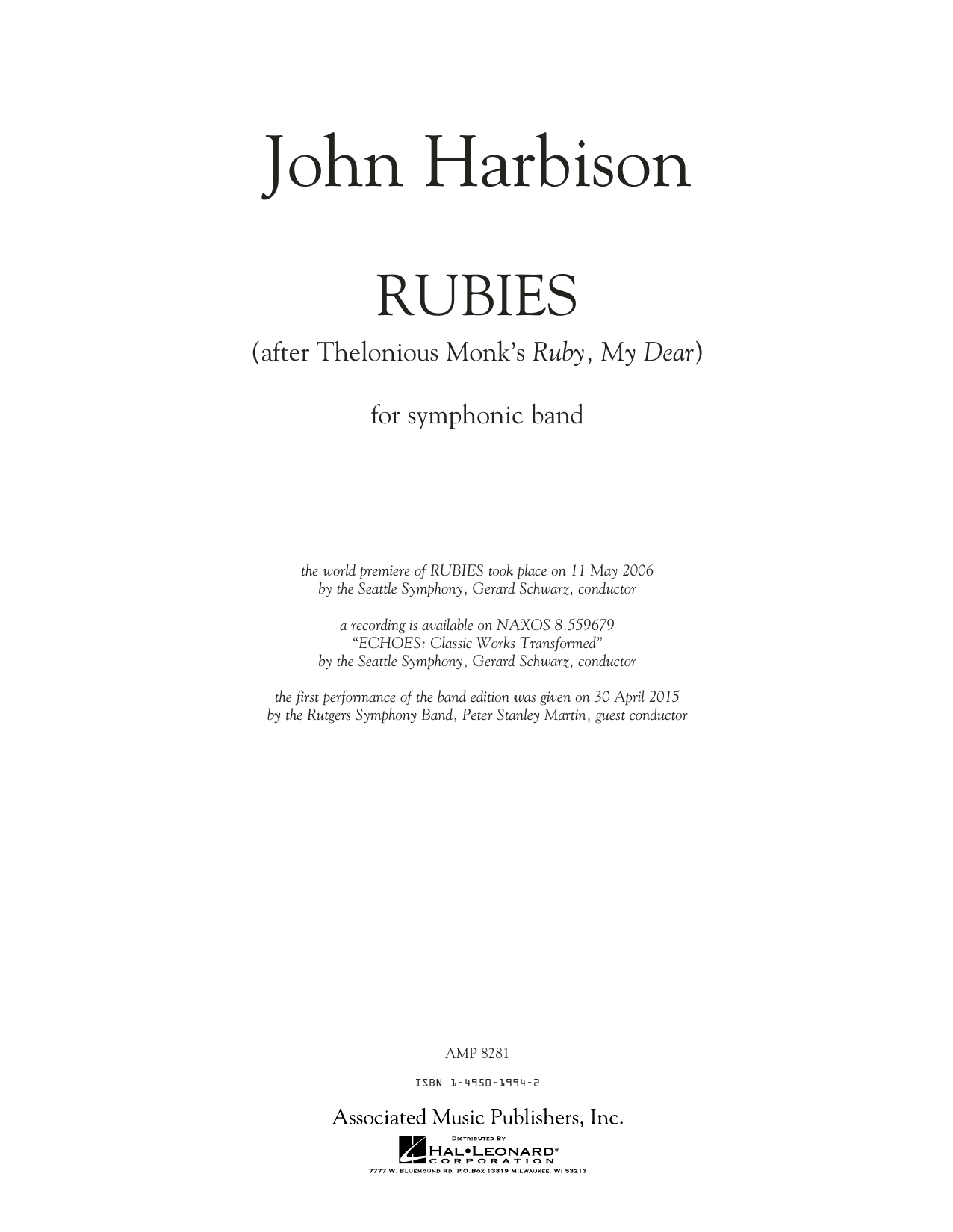 Rubies (After Thelonious Monk's