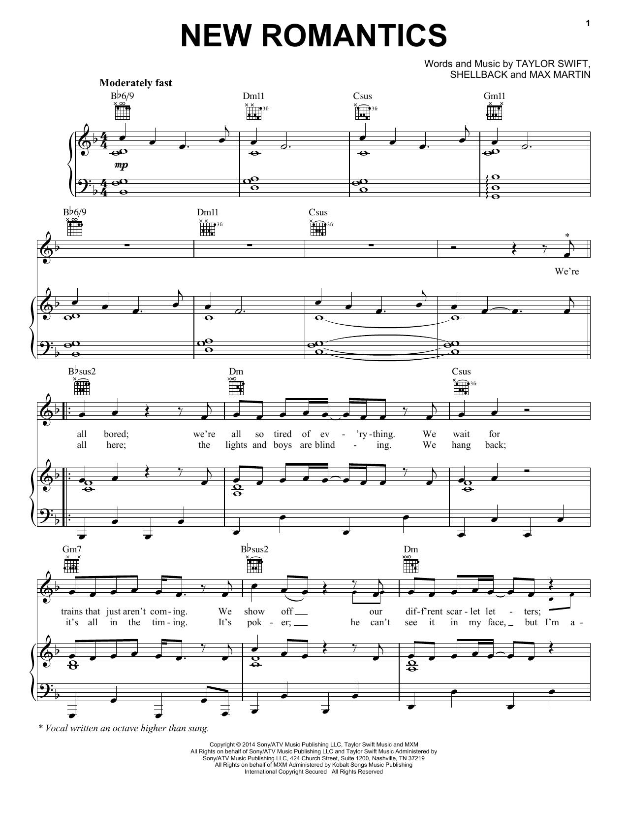 Partition piano New Romantics de Taylor Swift - Piano Voix Guitare (Mélodie Main Droite)