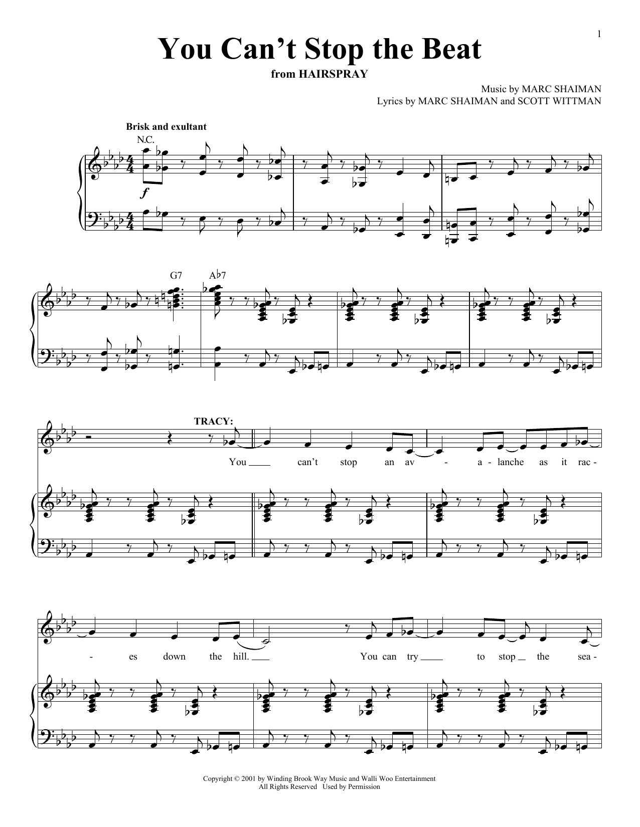 Partition piano You Can't Stop The Beat de Marc Shaiman - Piano Voix