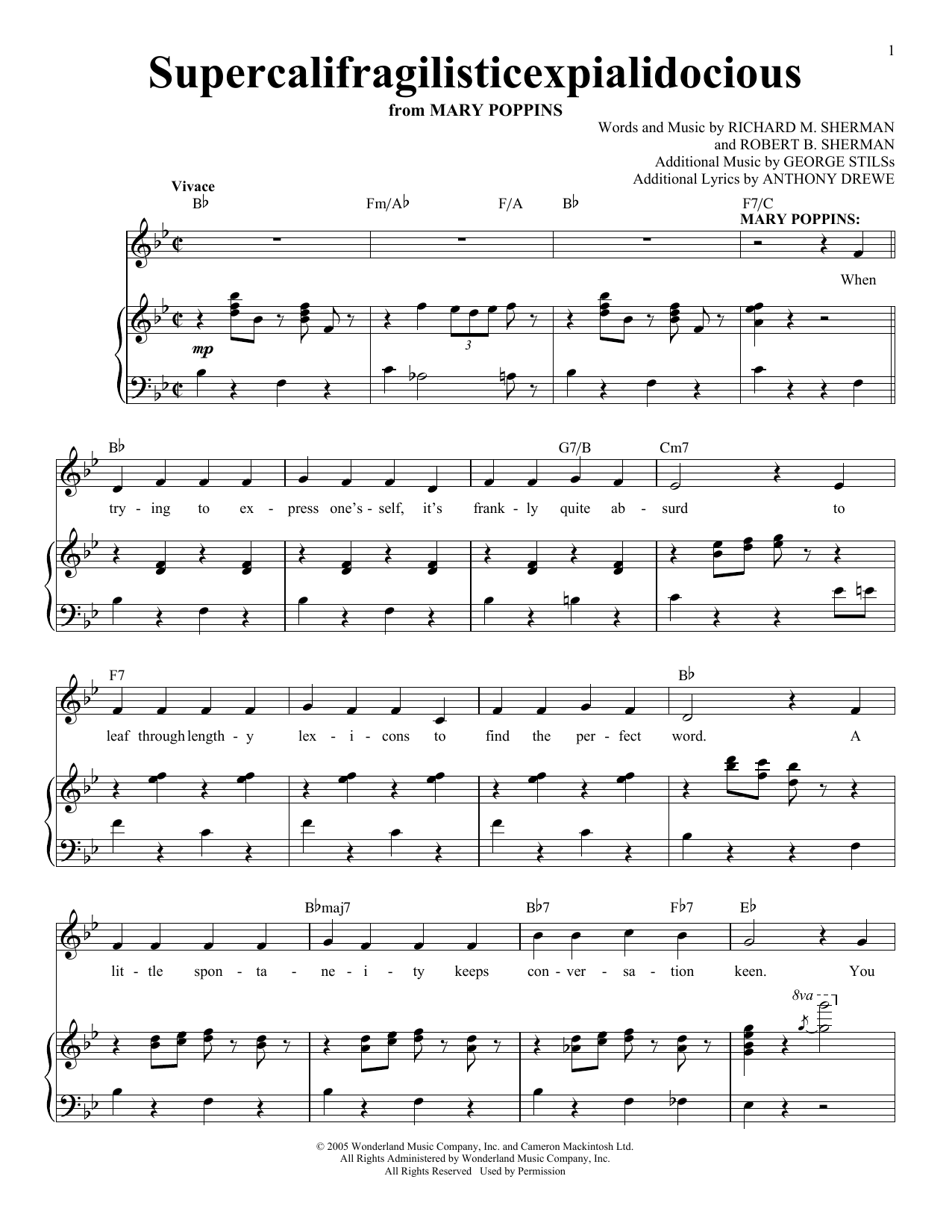 Partition piano Supercalifragilisticexpialidocious de Sherman Brothers - Piano Voix