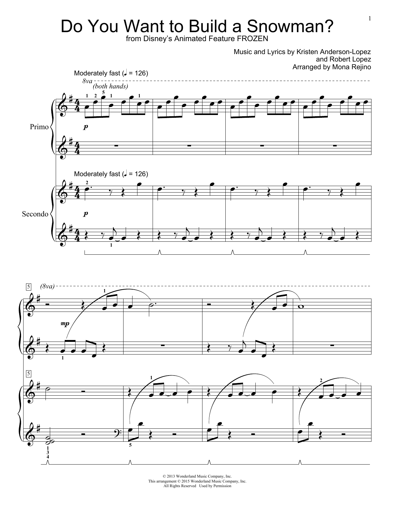 Partition piano Do You Want To Build A Snowman? de Kristen Bell - 4 mains