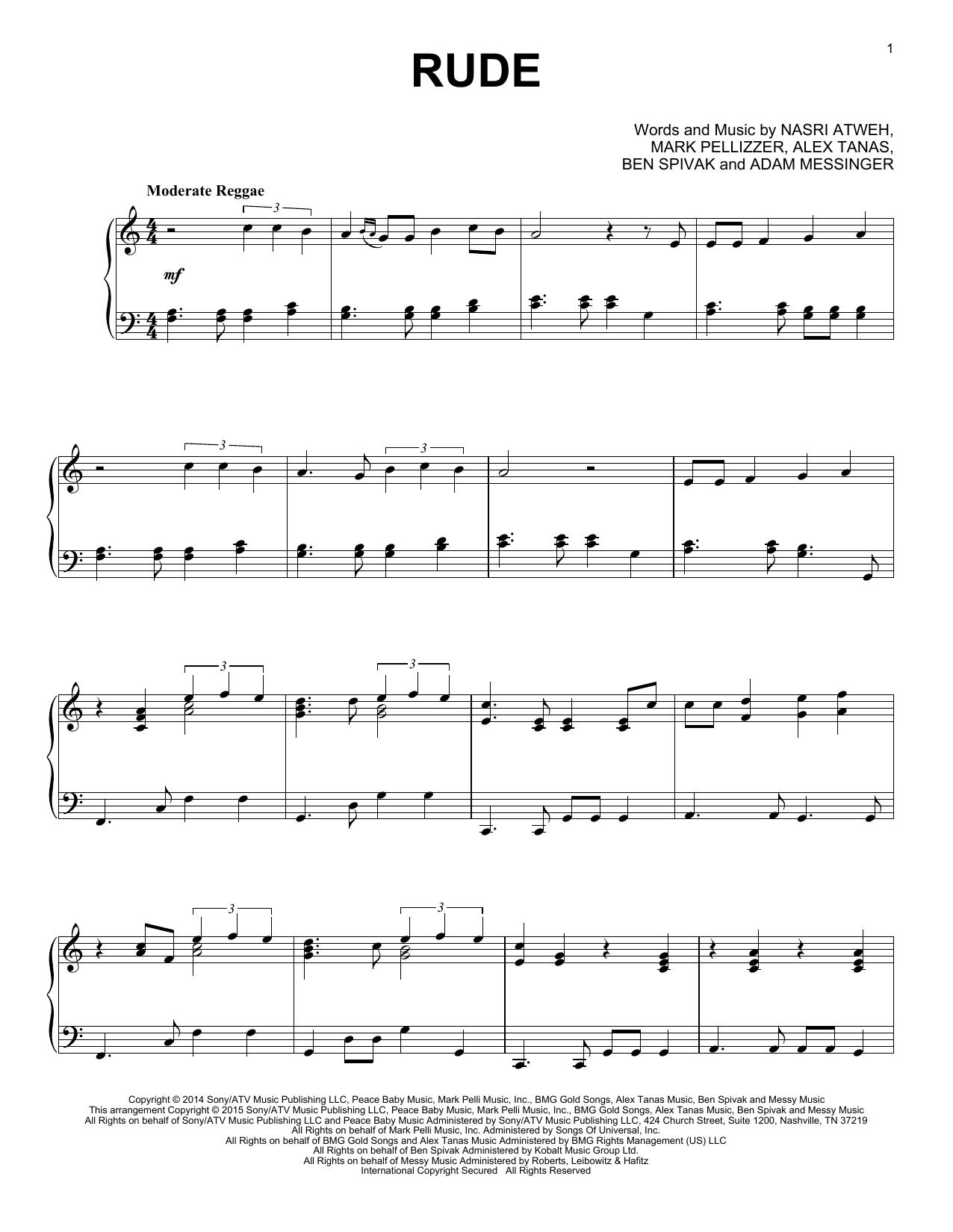 Partition piano Rude de MAGIC! - Piano Solo